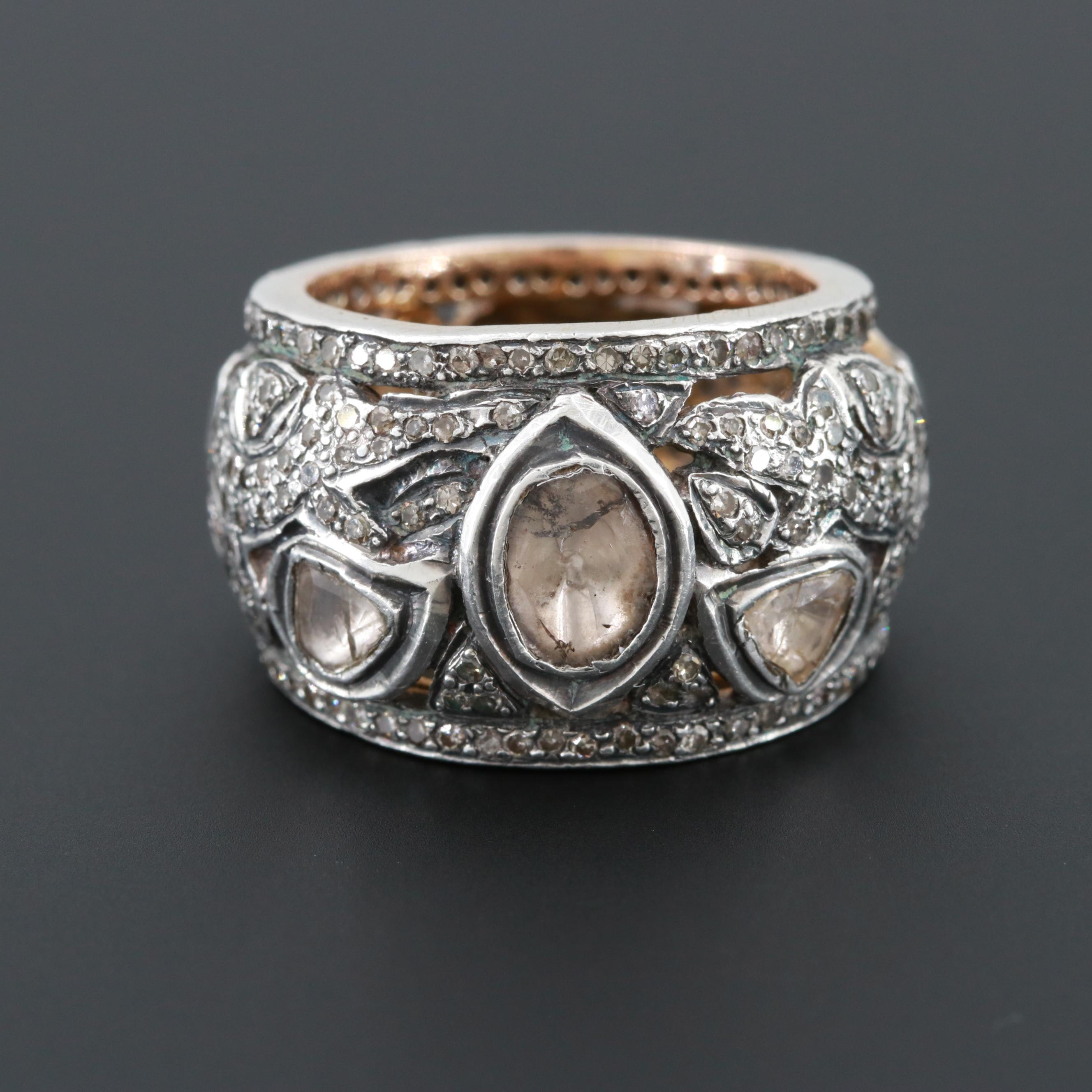 Gold Wash on Sterling Silver Diamond Ring