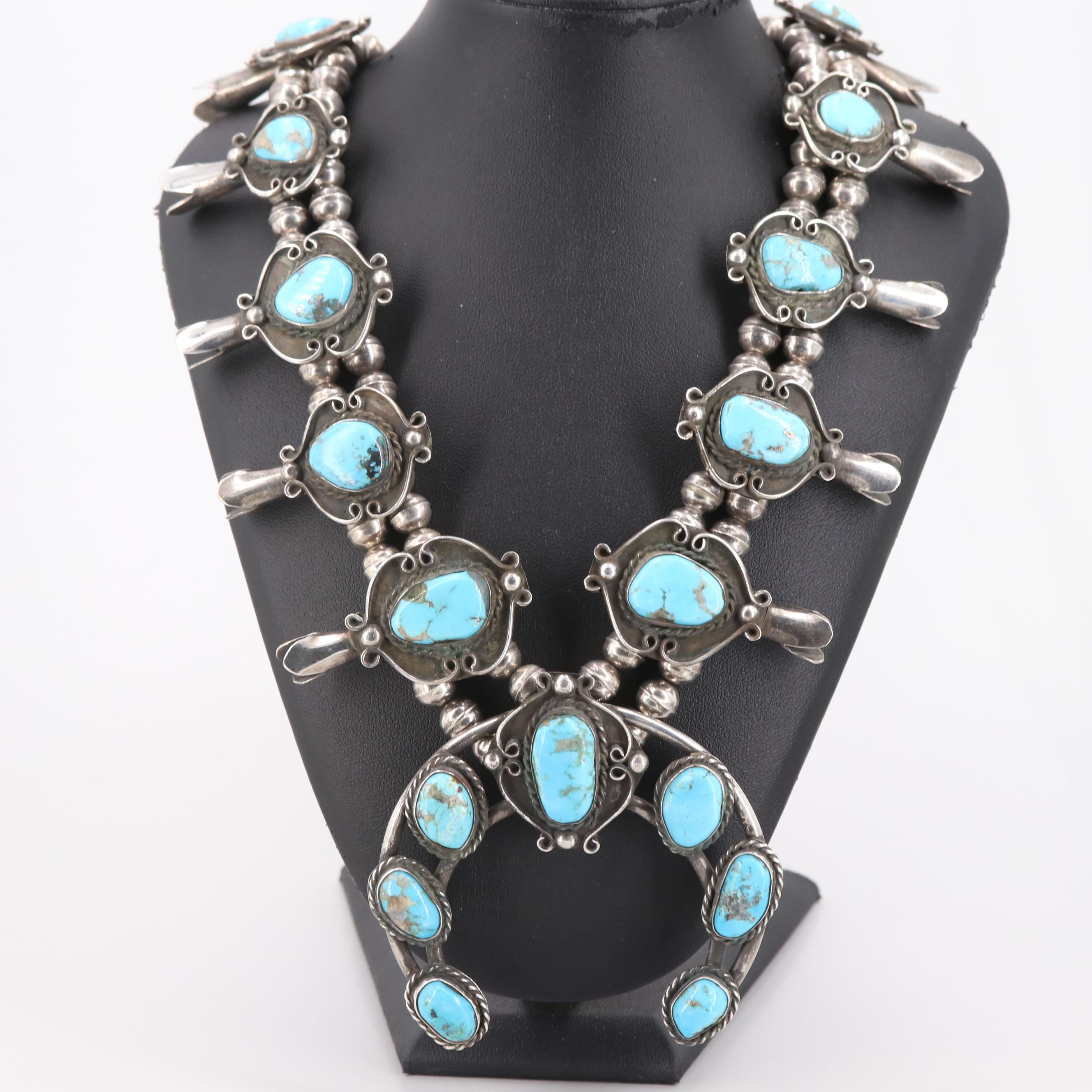 Southwestern 900 Silver Turquoise Squash Blossom Beaded Necklace