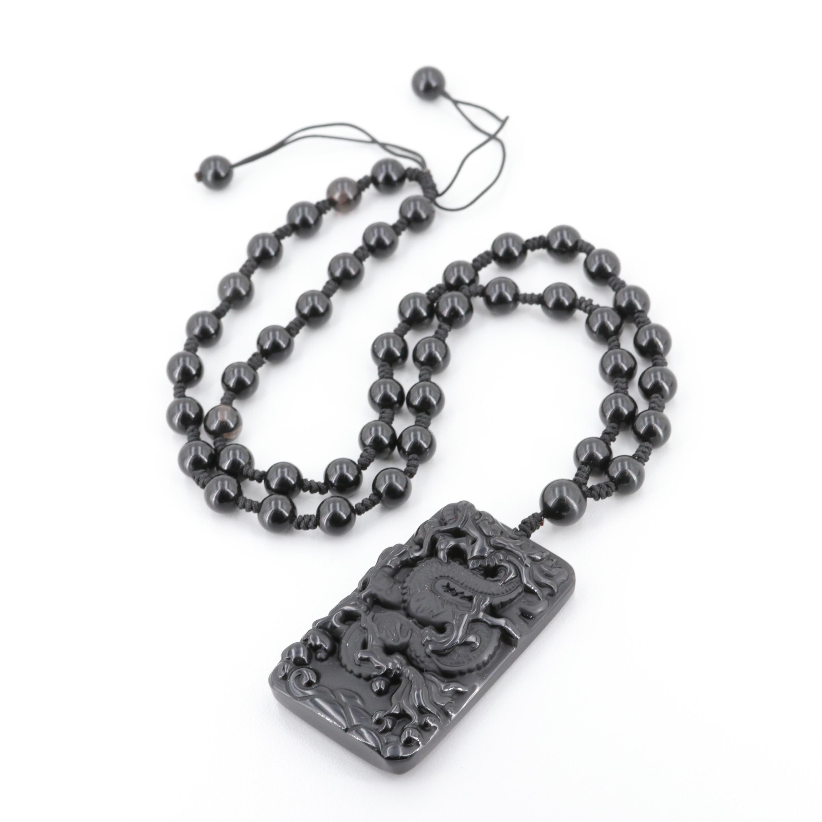 Black Onyx Asian Style Dragon Pendant Necklace
