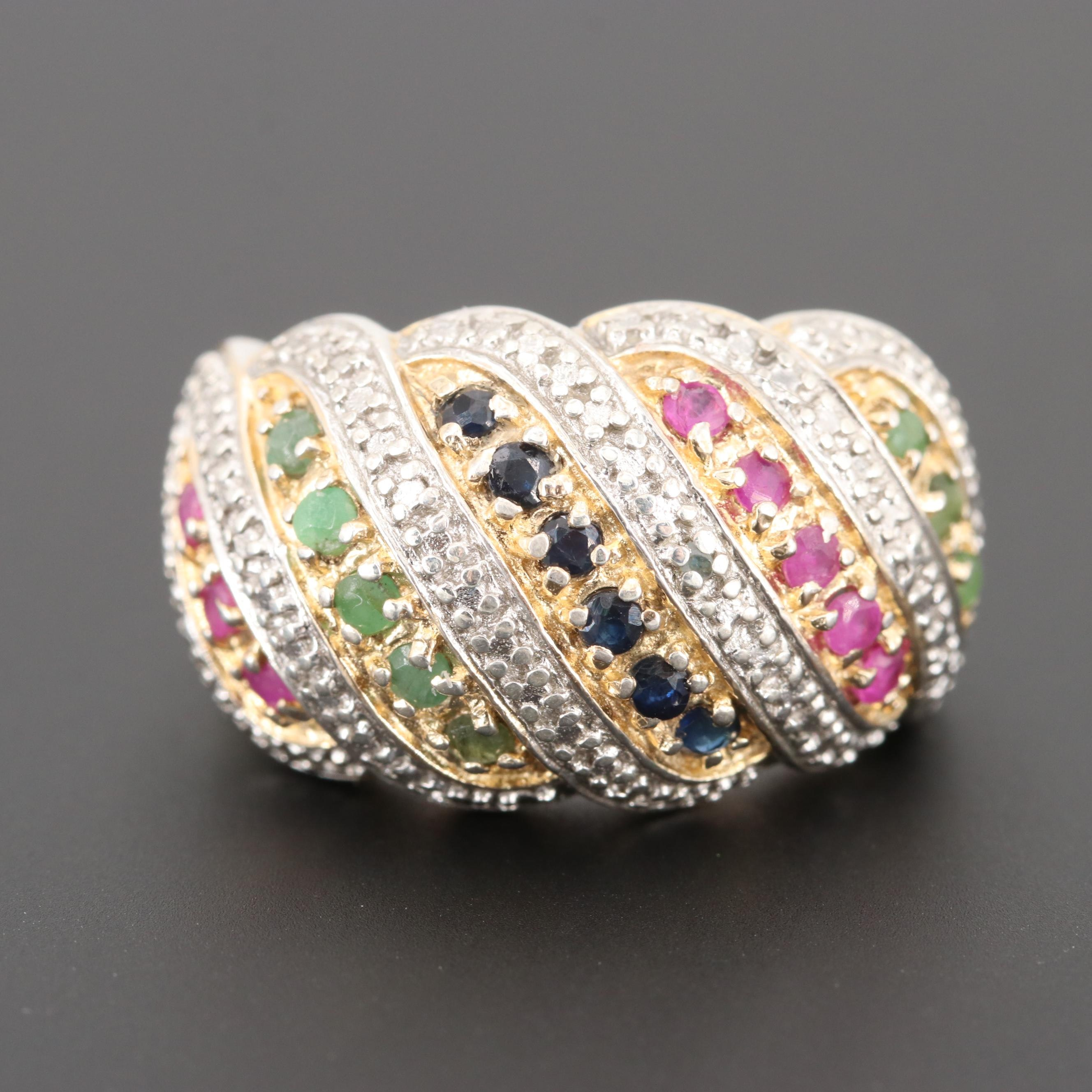 Sterling Silver Emerald, Ruby, Sapphire and Diamond Ring with Gold Wash Accents