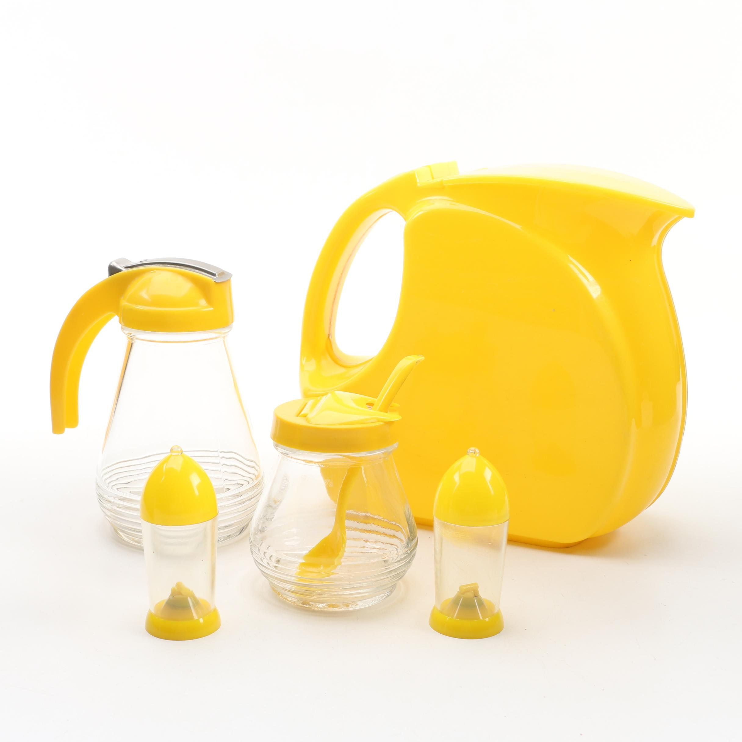 Wata-Kanta Pitcher with Marmalade Jar, Syrup Pitcher and Shakers, Mid-Century