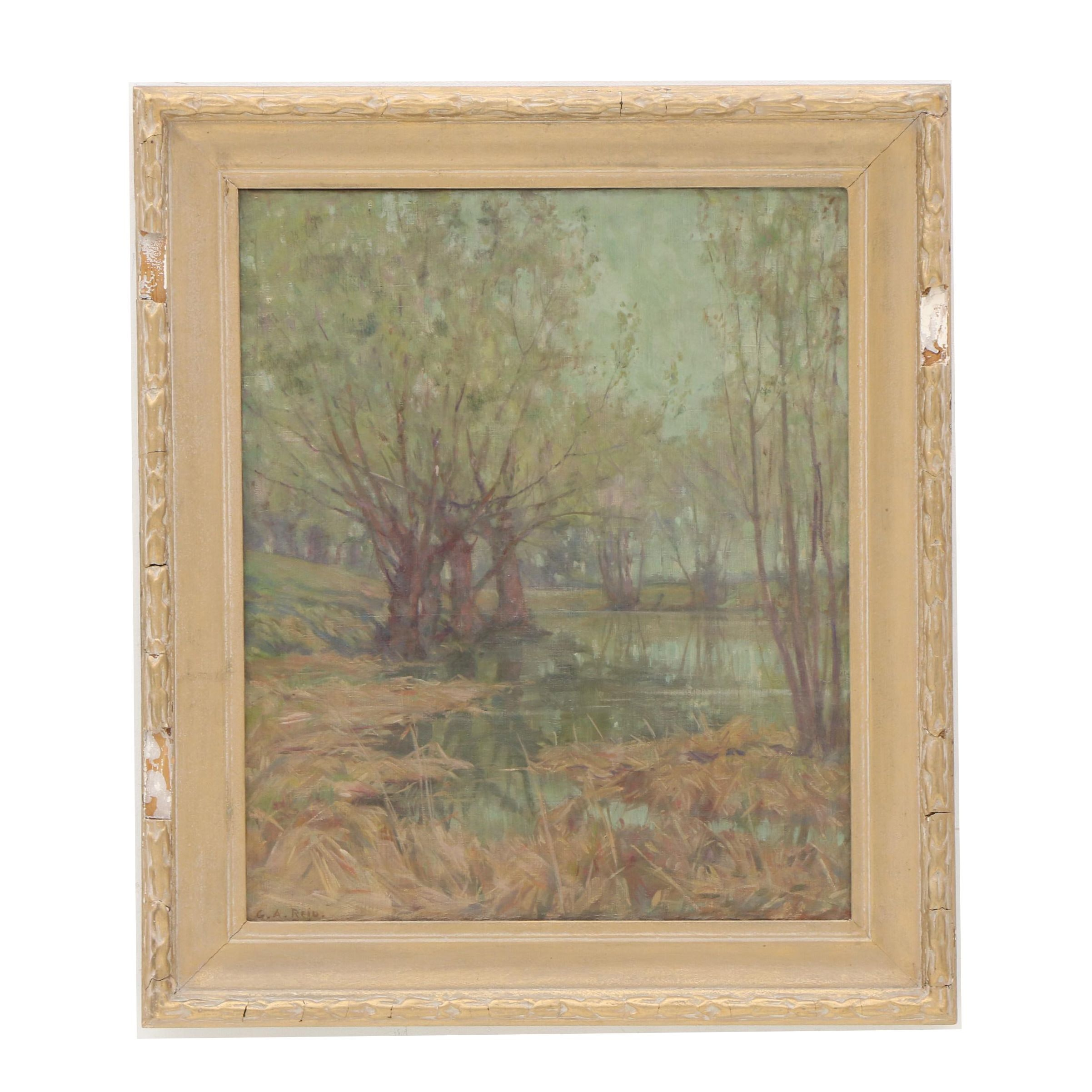 "George Agnew Reid 1922 Oil Painting ""The Pond"""