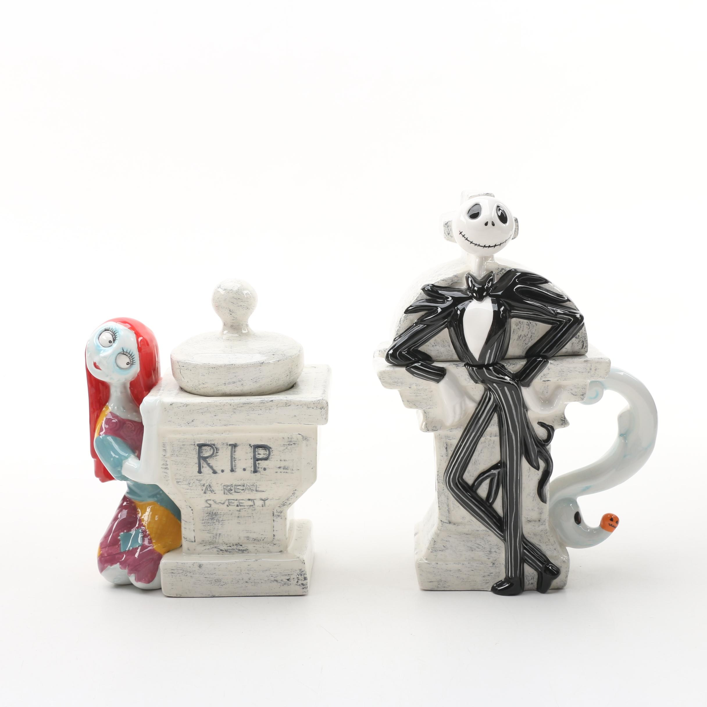 """Nightmare Before Christmas"" ""Jack"" Creamer and ""Sally"" Sugar Bowl"
