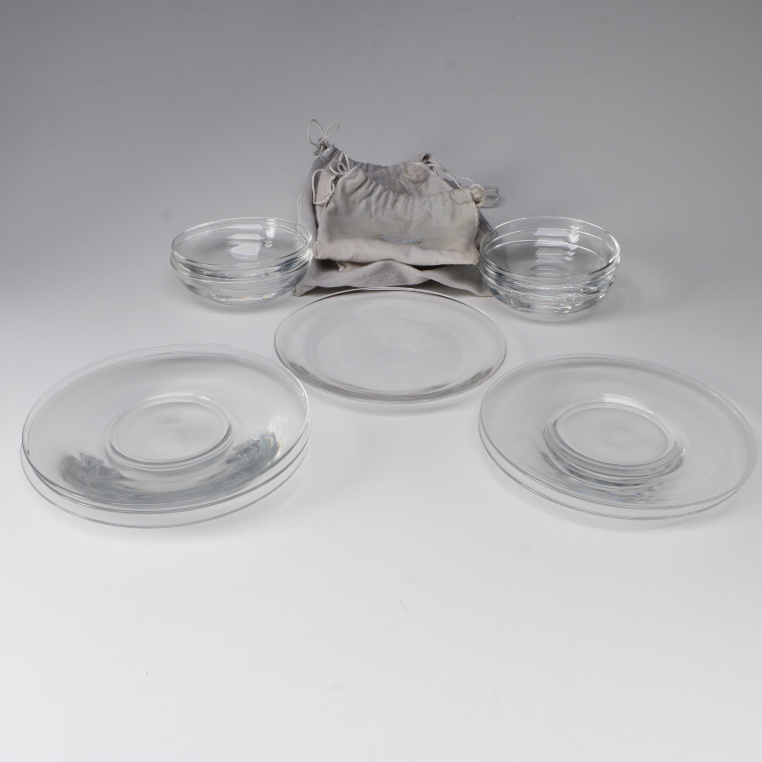 Steuben Art Glass Luncheon Plates and Bowls, Mid-Century
