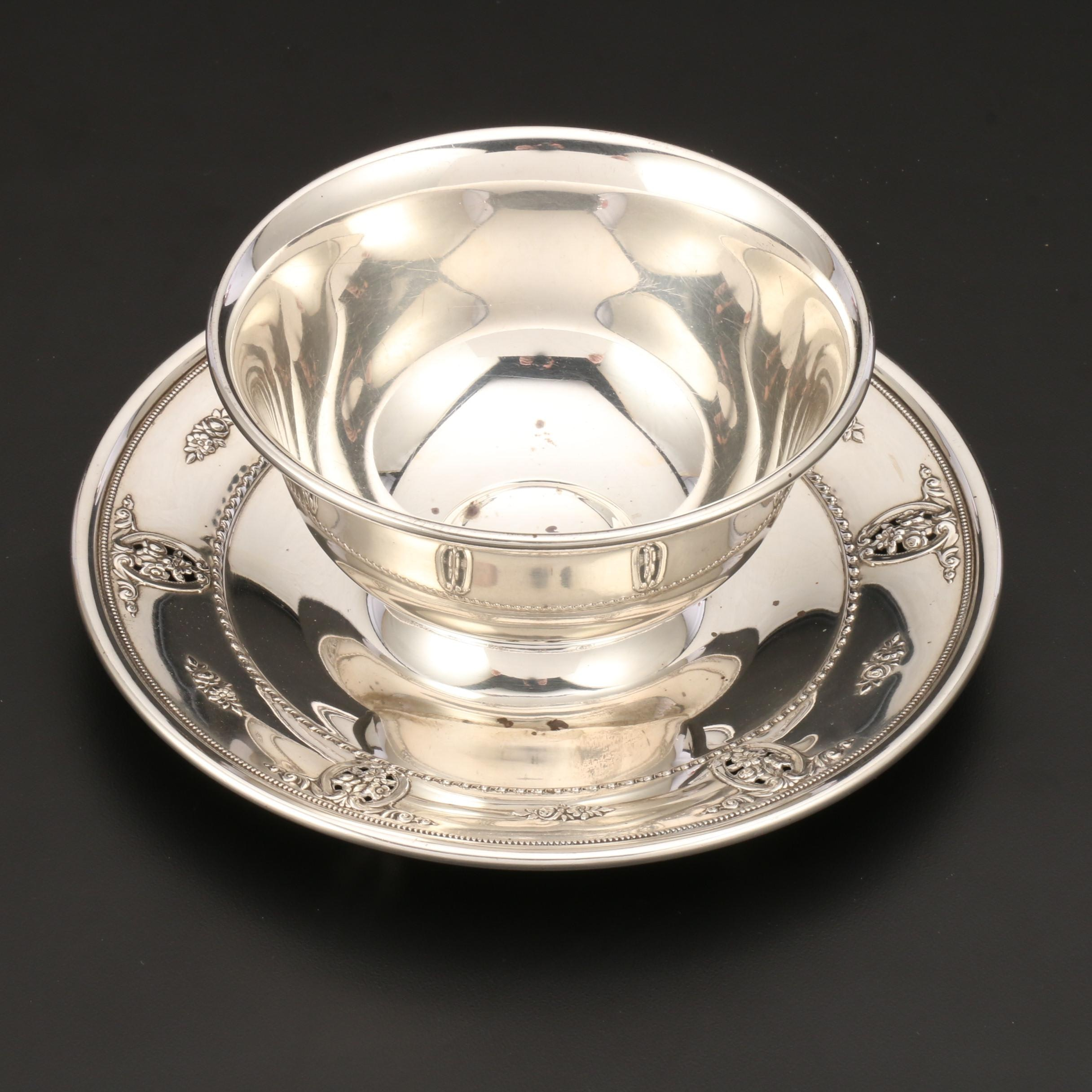 "Wallace Sterling Silver ""Rose Point"" Gravy Bowl with Fixed Underplate"