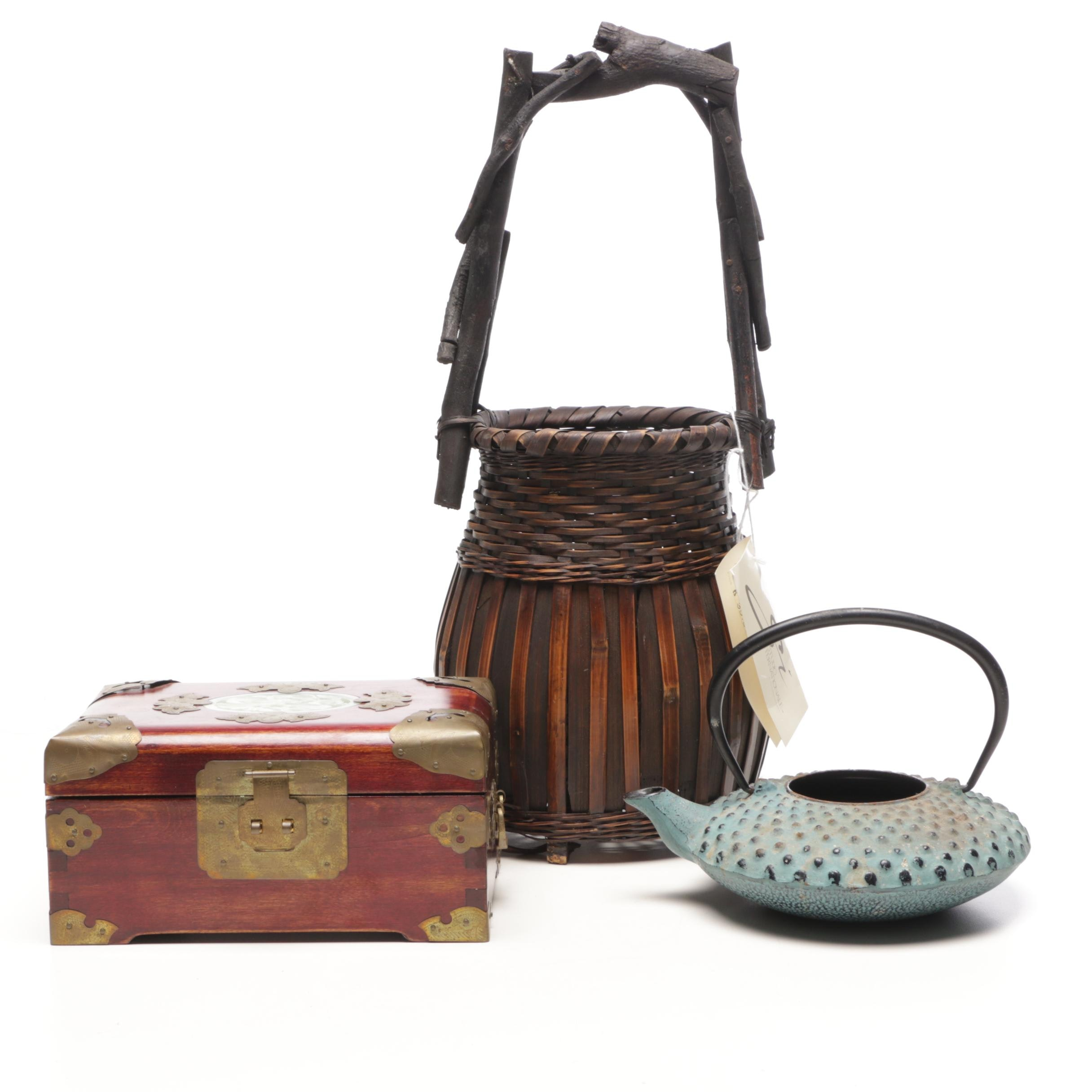 Japanese Ikebana Basket with Iron Kettle and Chinese Jewelry Box