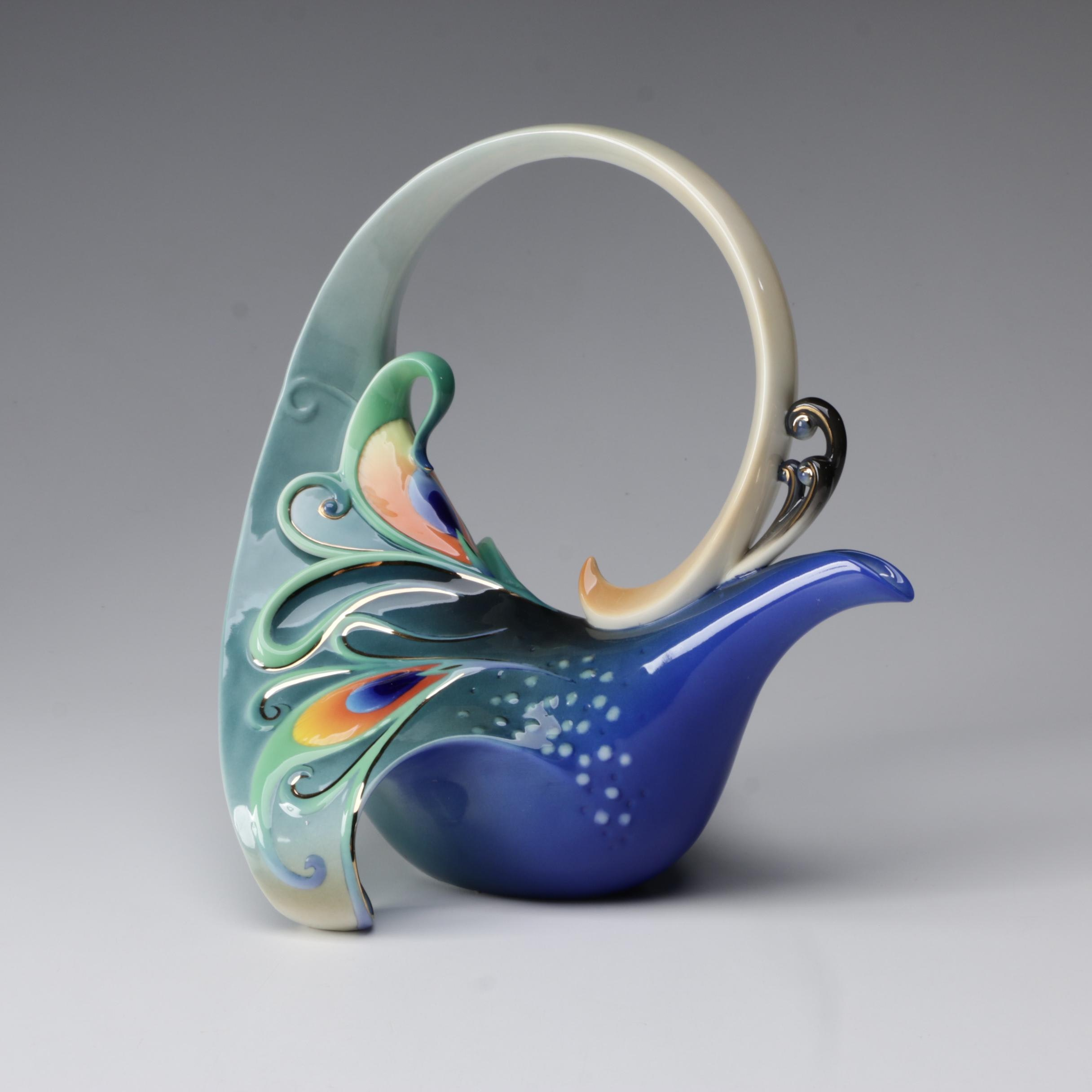 "Franz Collection for Kathy Ireland ""Peacock Splendor"" Porcelain Teapot"
