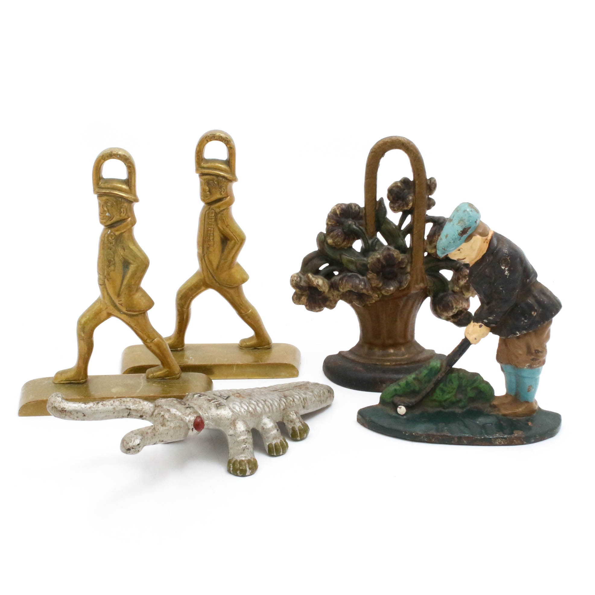 Virginia Metalcrafters Hessian Figural Doorstops with Bookends and Boot Jack