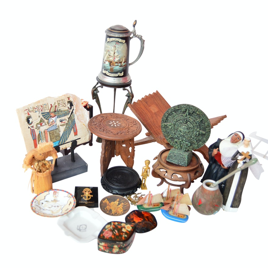 Souvenir Collectibles, Figurines, Pewter Stein and Woodware