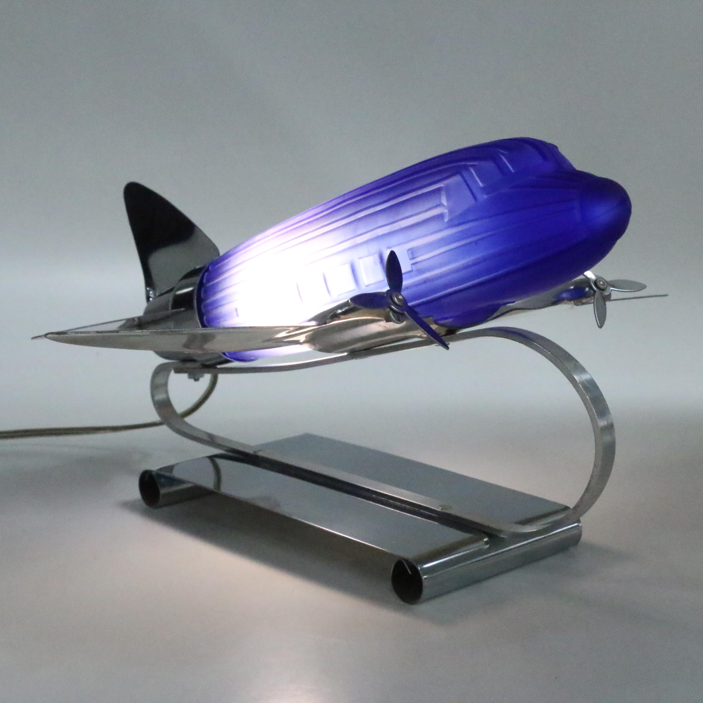 Art Deco Frosted Blue Glass and Metal Airplane Lamp by Sarsaparilla, 1977