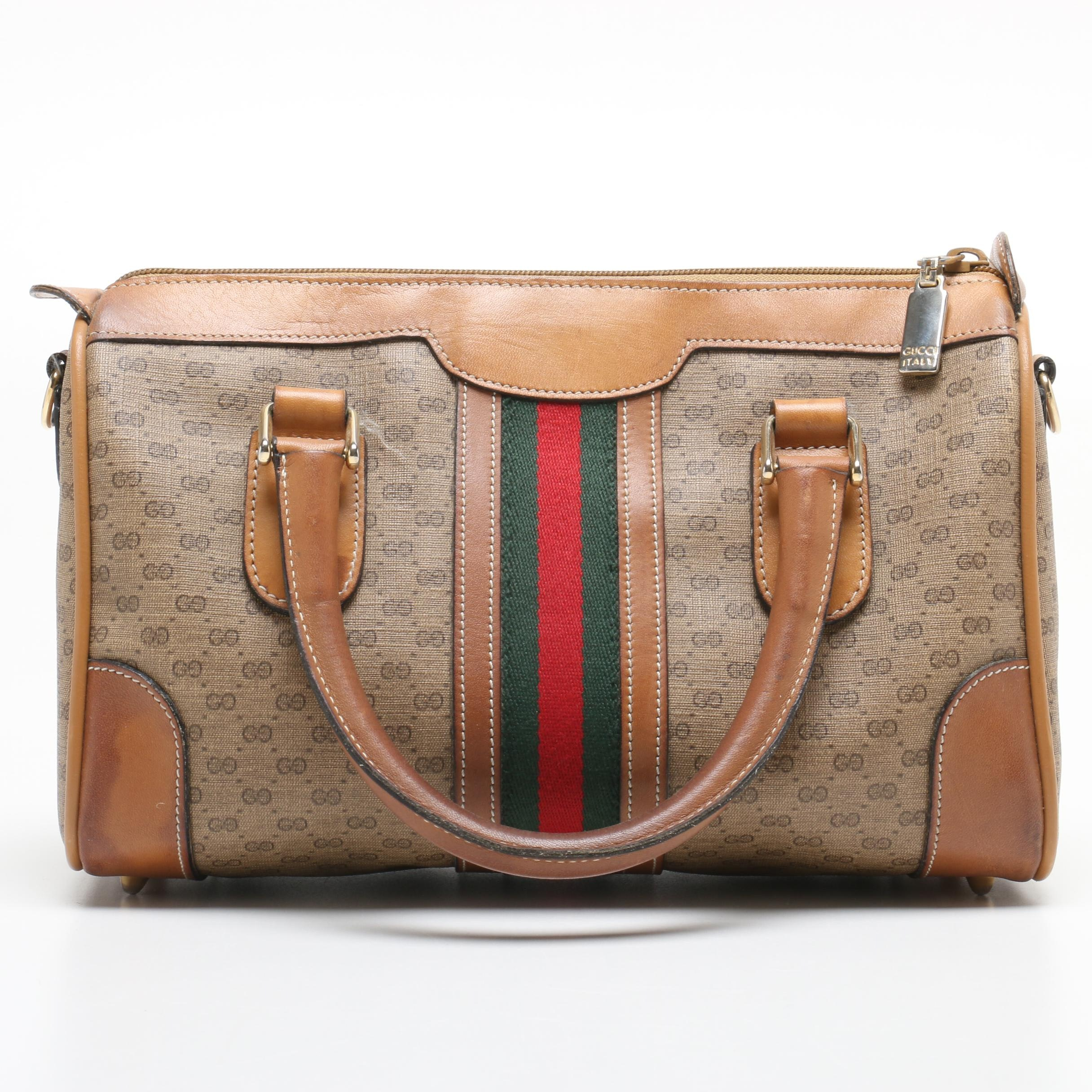 Gucci GG Supreme Canvas Web Stripe Satchel, 1980s Vintage