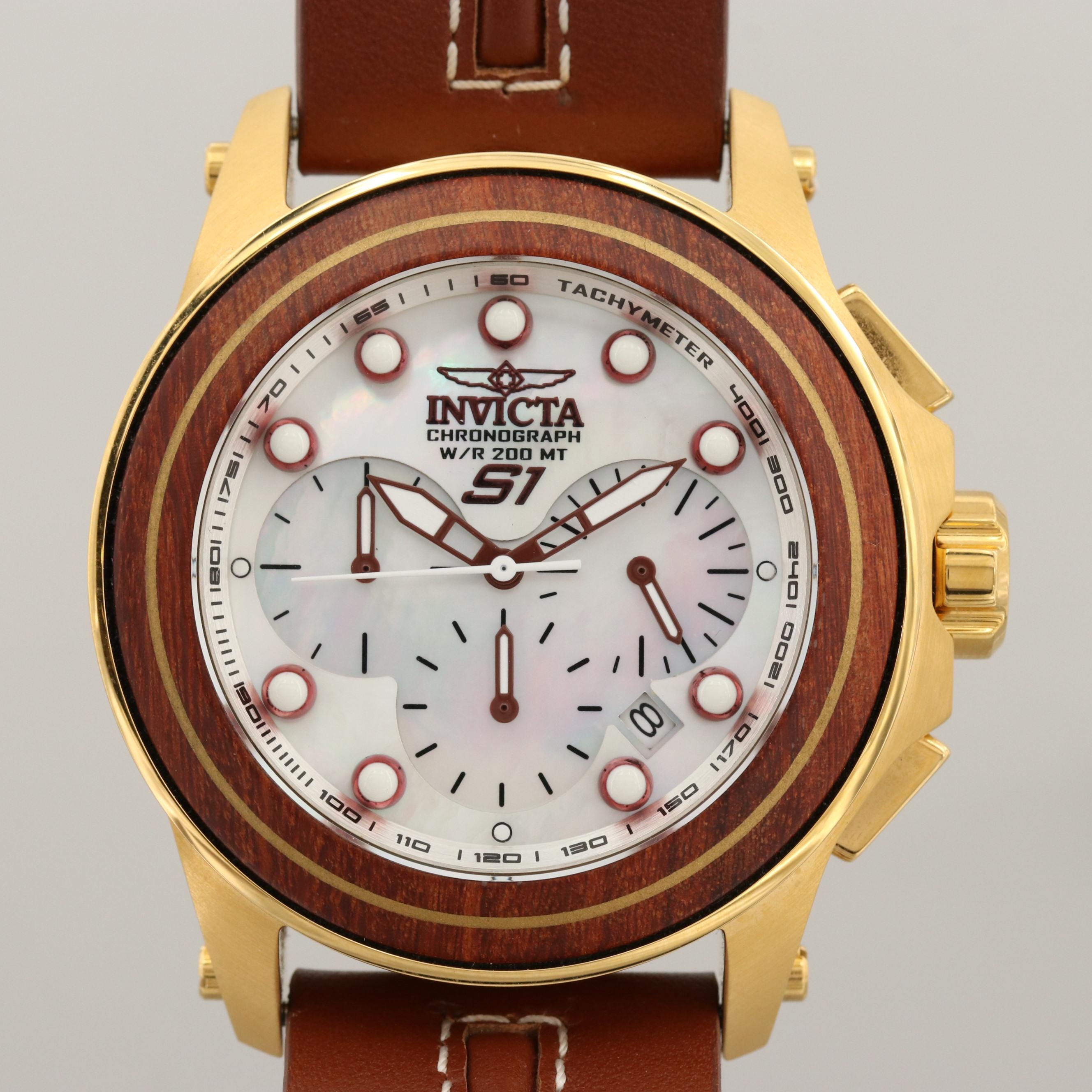 Invicta S1 Rally Stainless Steel and Mother of Pearl Chronograph Wristwatch