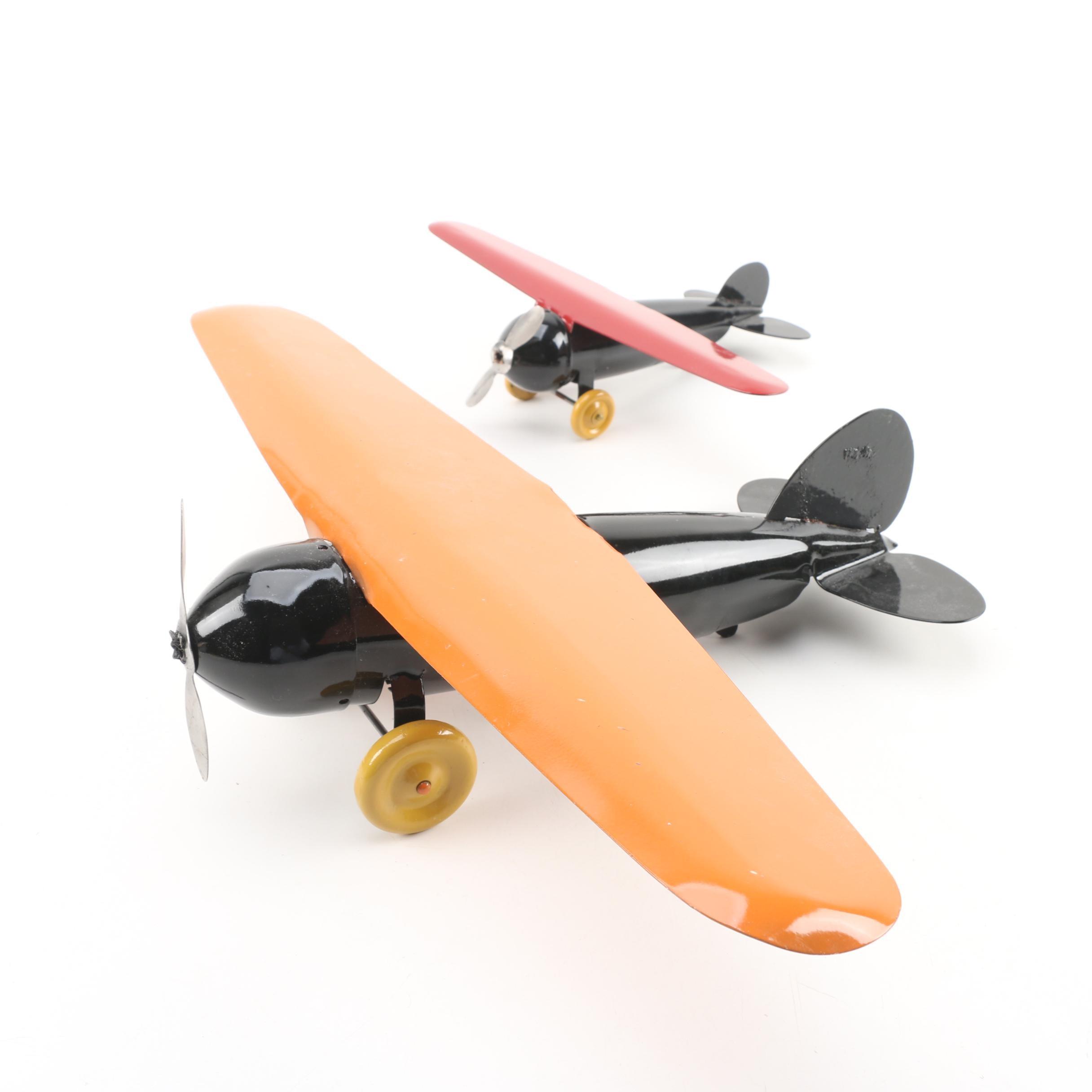 Two Toy Metal Airplanes, Vintage