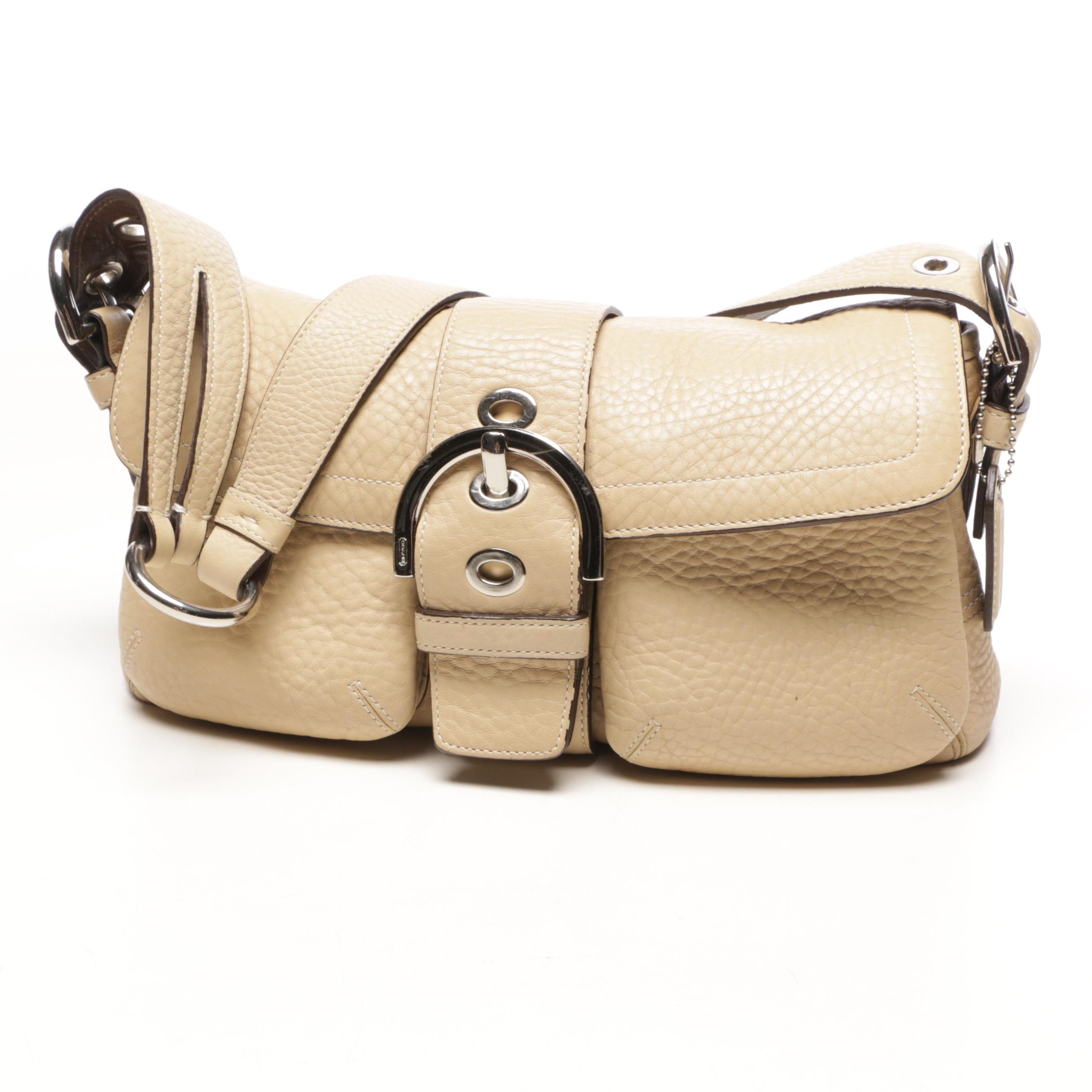 Coach Beige Leather Soho Buckle Flap Shoulder Bag