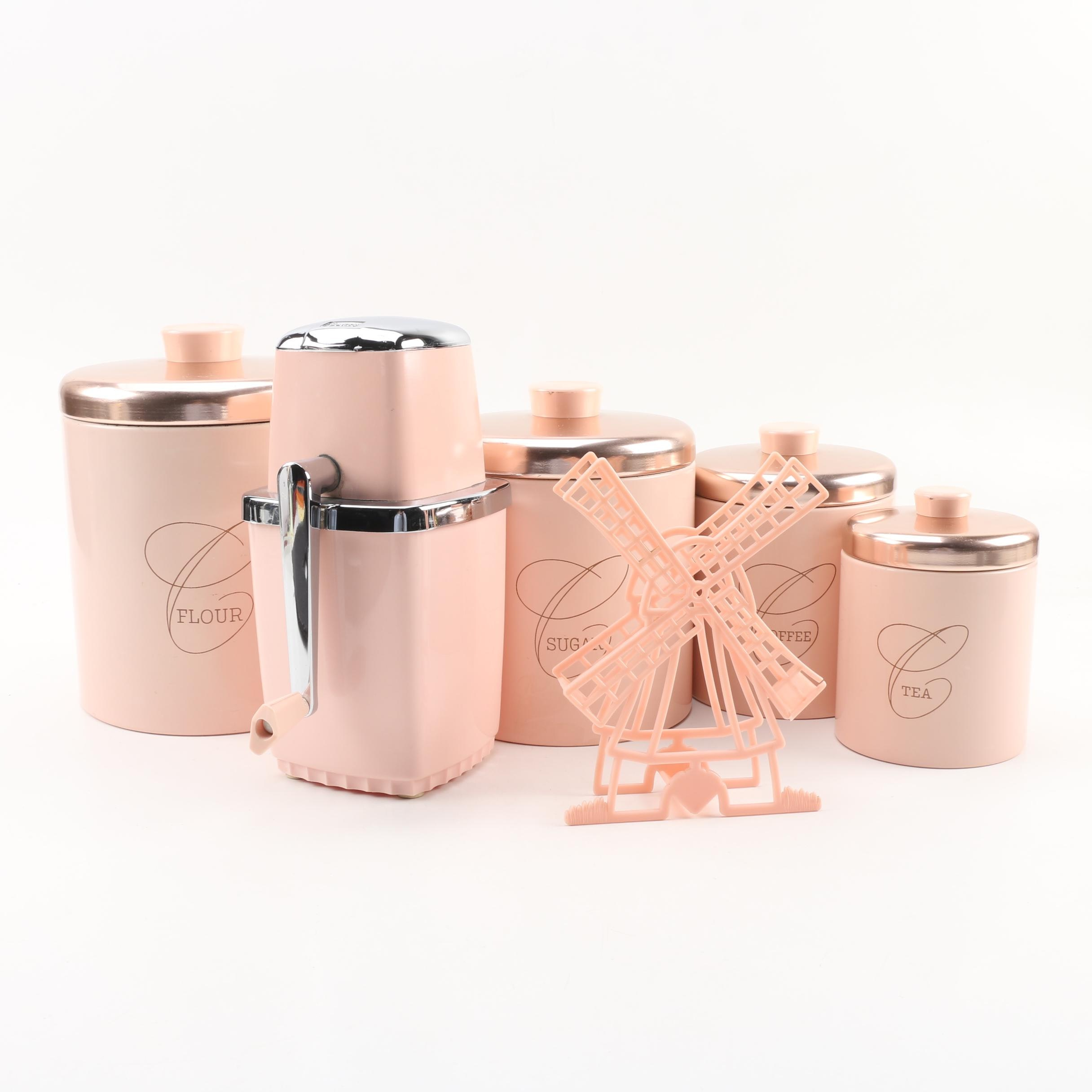Ransburg Pink Kitchen Canisters with Sears Ice Crusher, Mid-Century