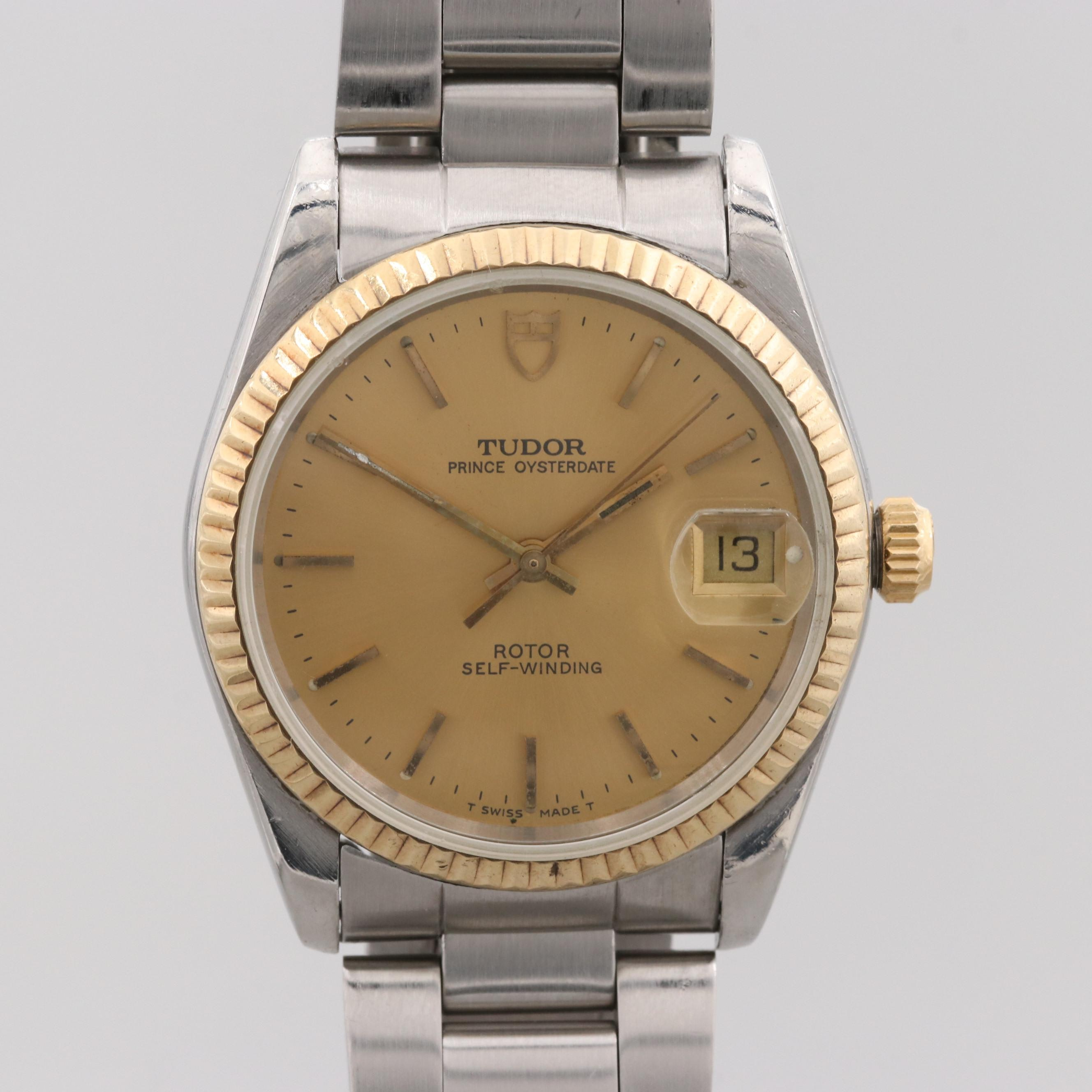 Vintage Tudor Prince Oyster Date Stainless Steel and 18K Yellow Gold Wristwatch