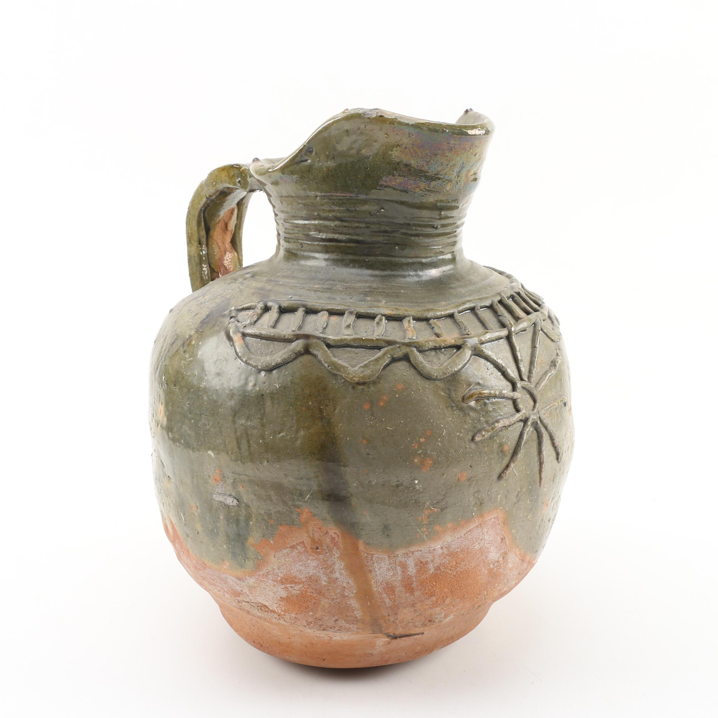 French Provincial Stoneware Partial Glaze Pitcher with Sun Motif