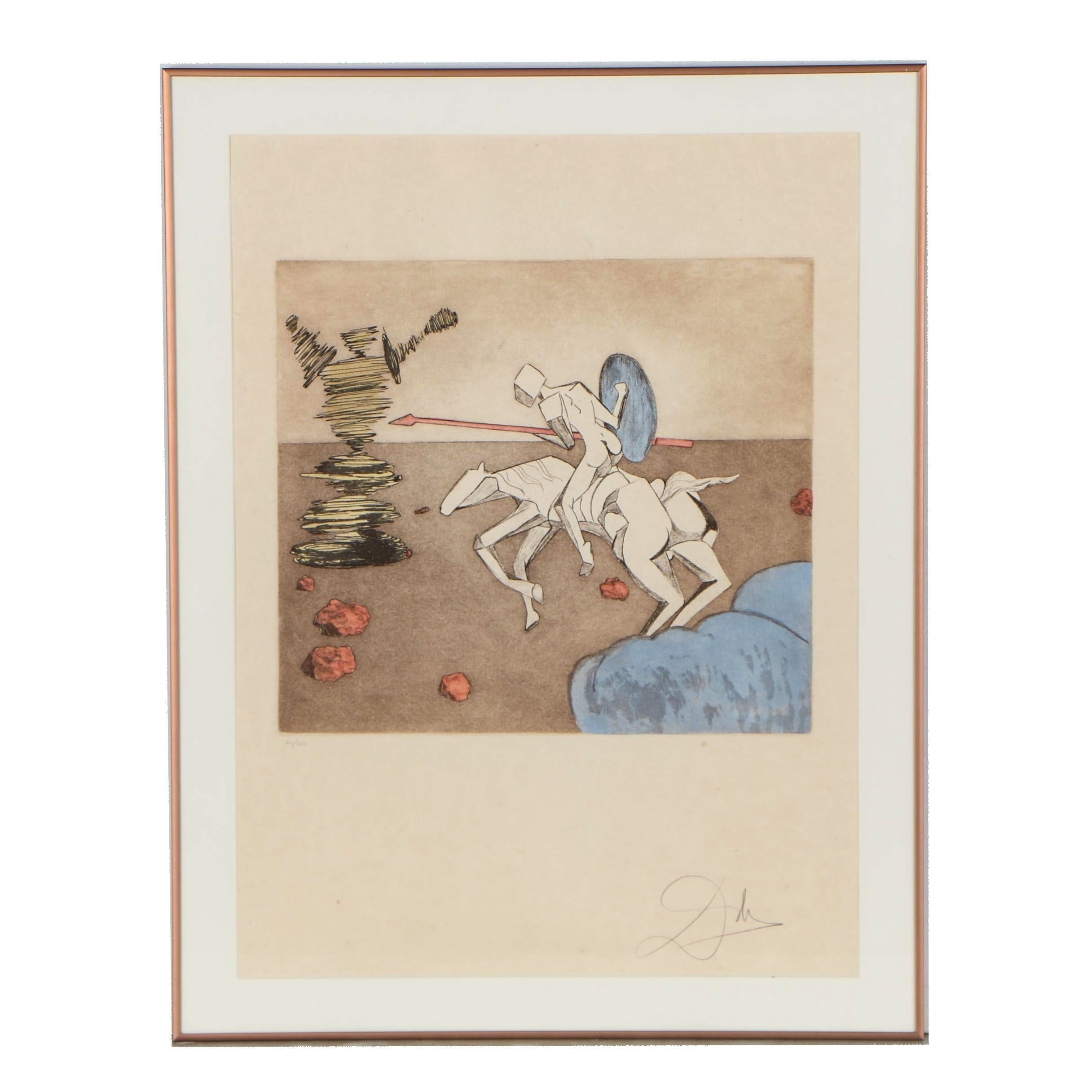 """Salvador Dalí Etching with Aquatint """"The Quest"""", 1981"""