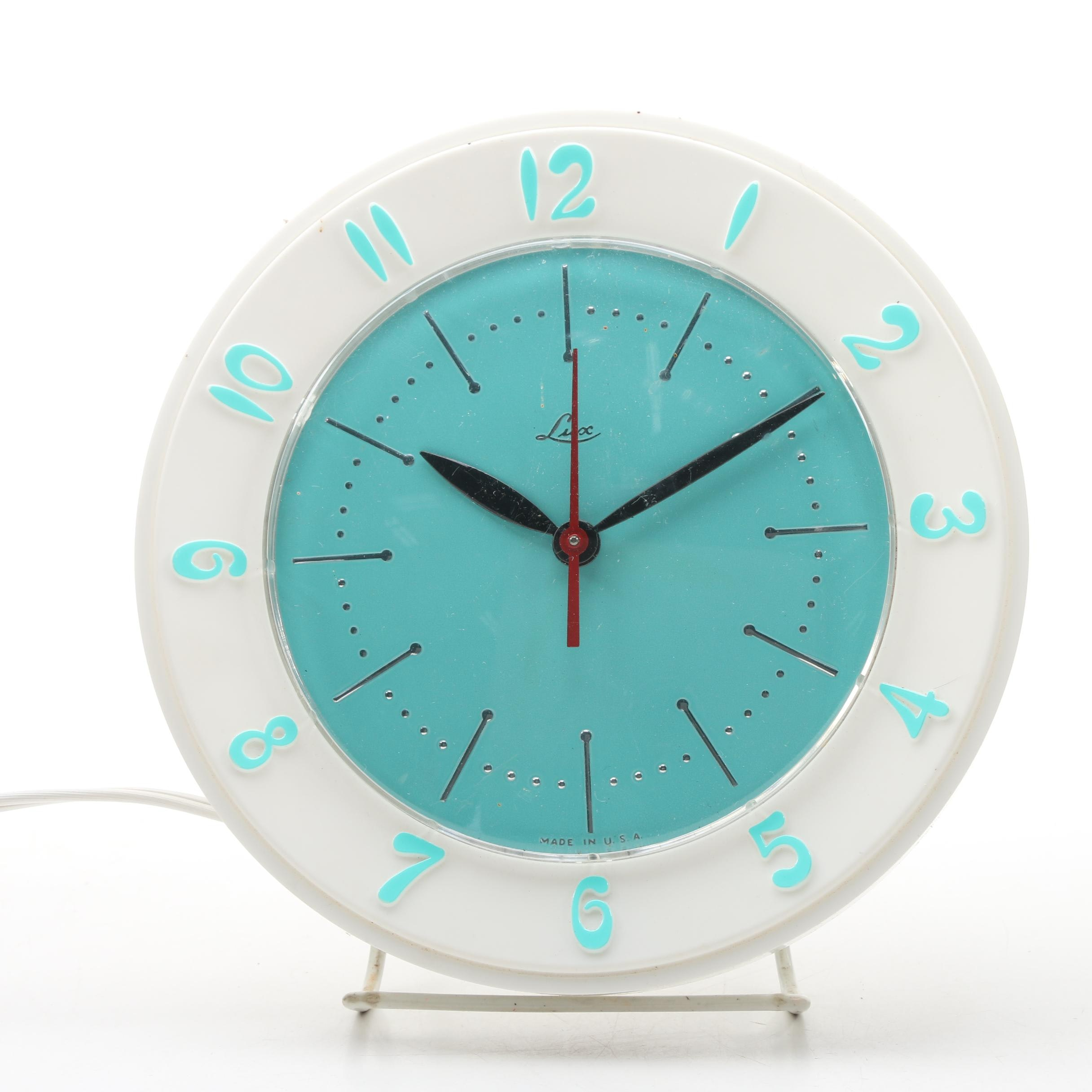 Lux Teal and White Electric Wall Clock, Mid-Century