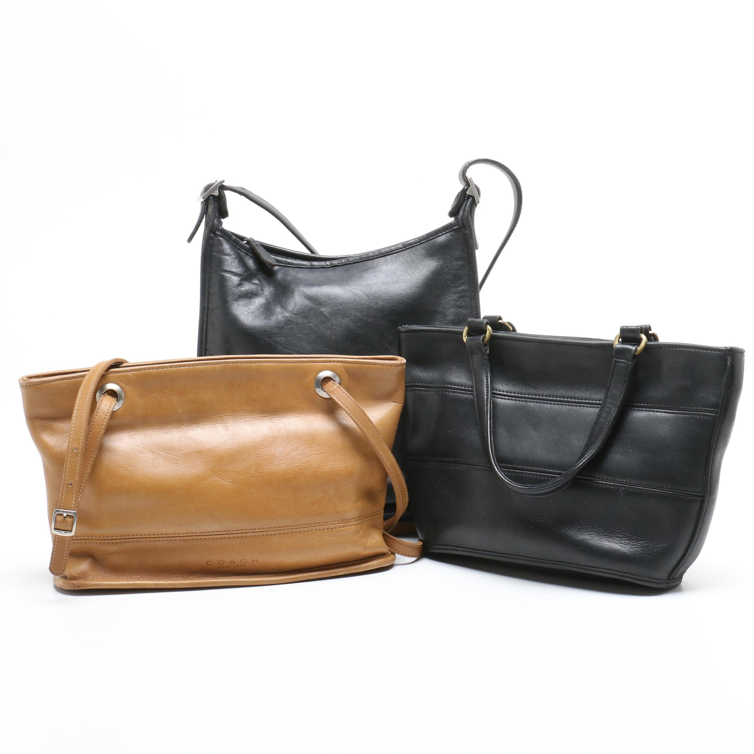 Coach Black Leather Tribeca Tote and Leather Shoulder Bags