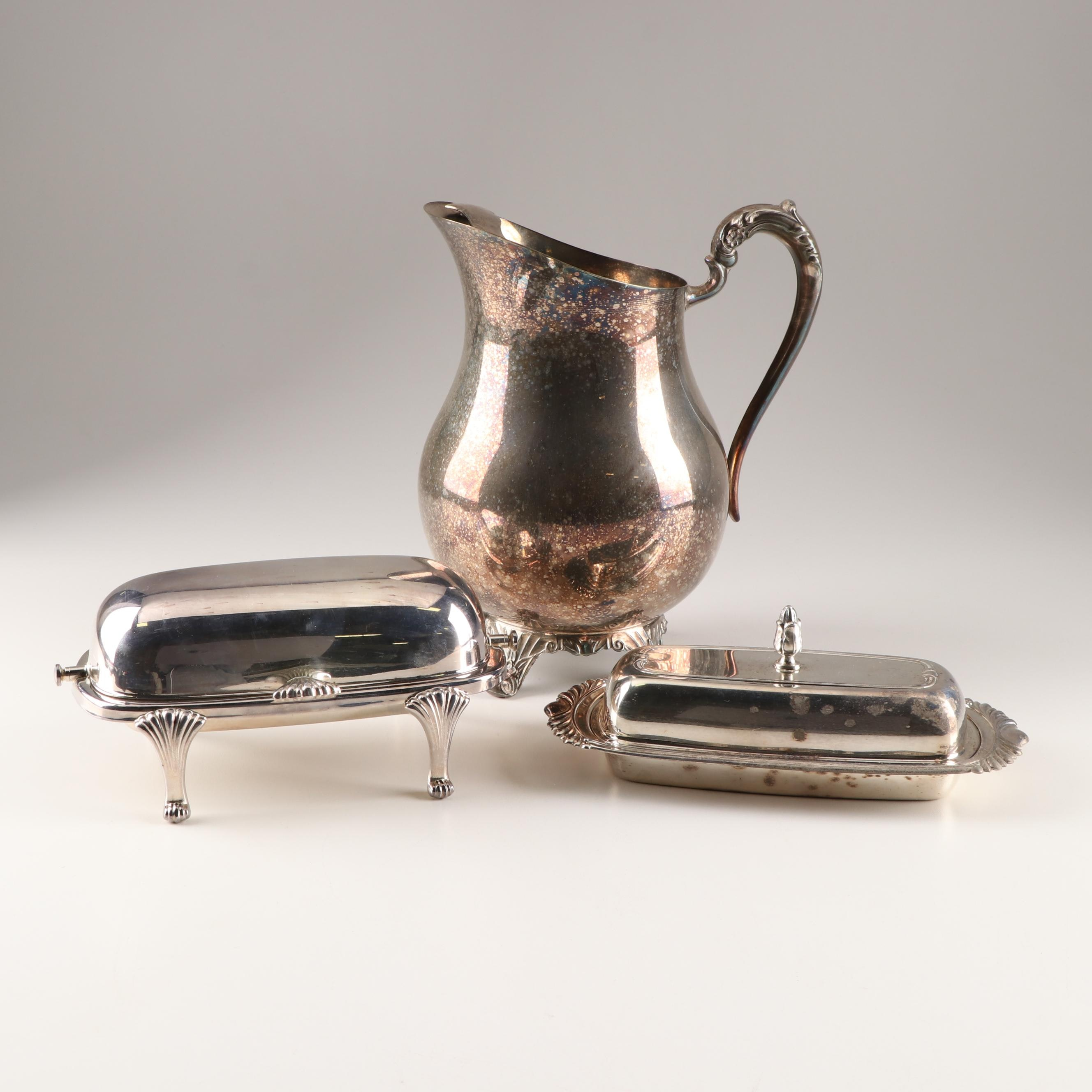 Silver Plated Pitcher and Covered Butter Servers