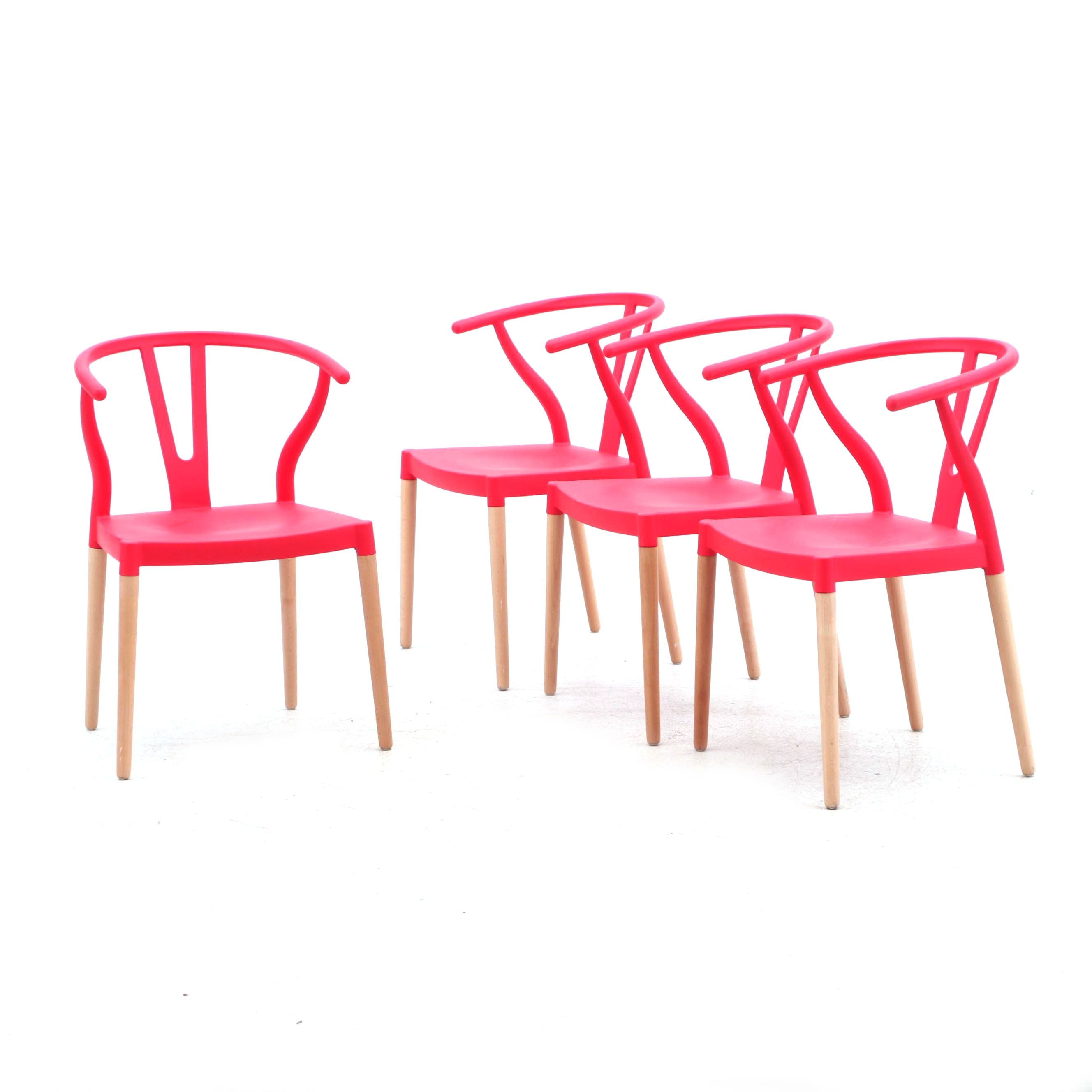 Hans Wegner Style Wishbone Chairs in Molded Plastic and Ash