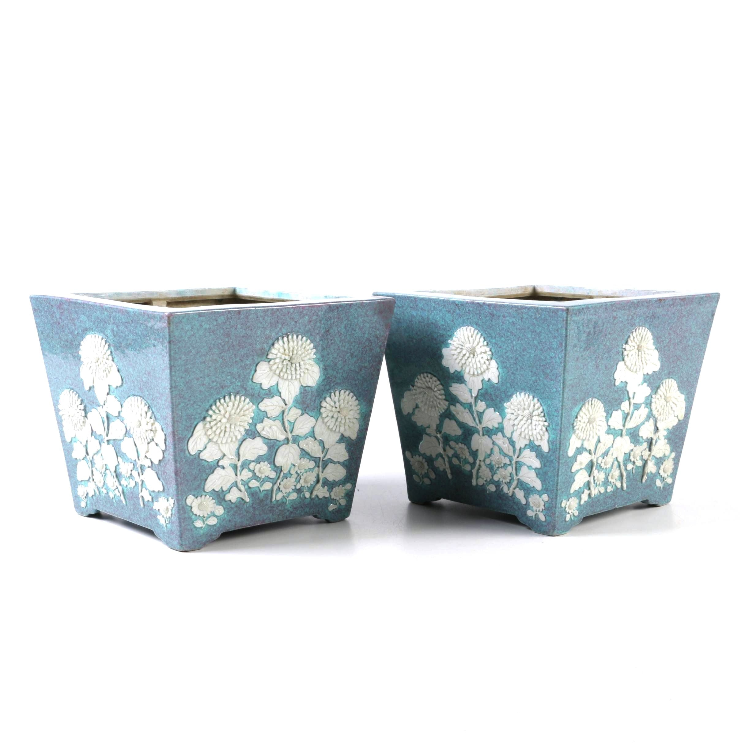 Chinese Porcelain Planters with Applied Floral Relief, Late Qing Dynasty