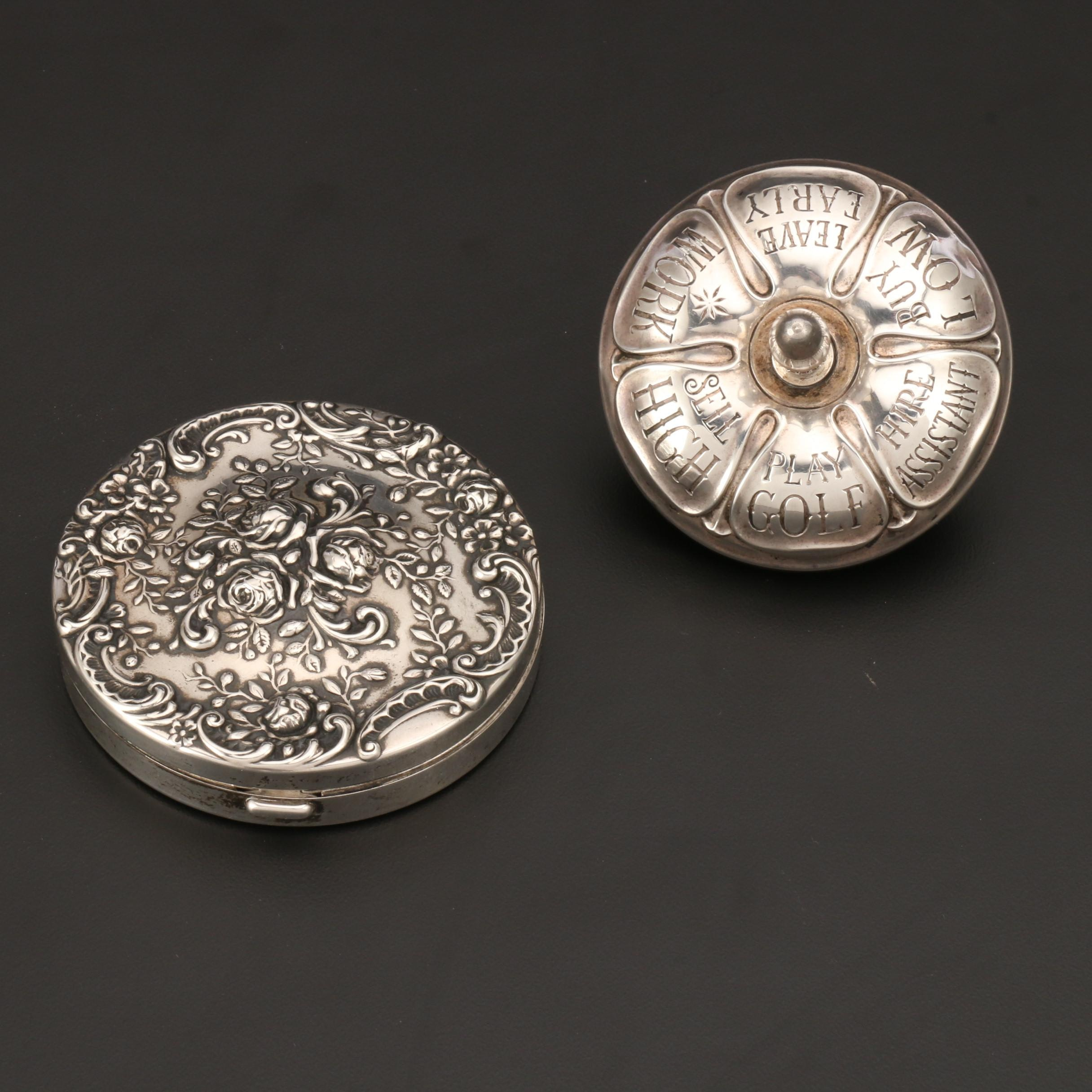 Gorham Sterling Silver Executive Top and Repoussé Compact