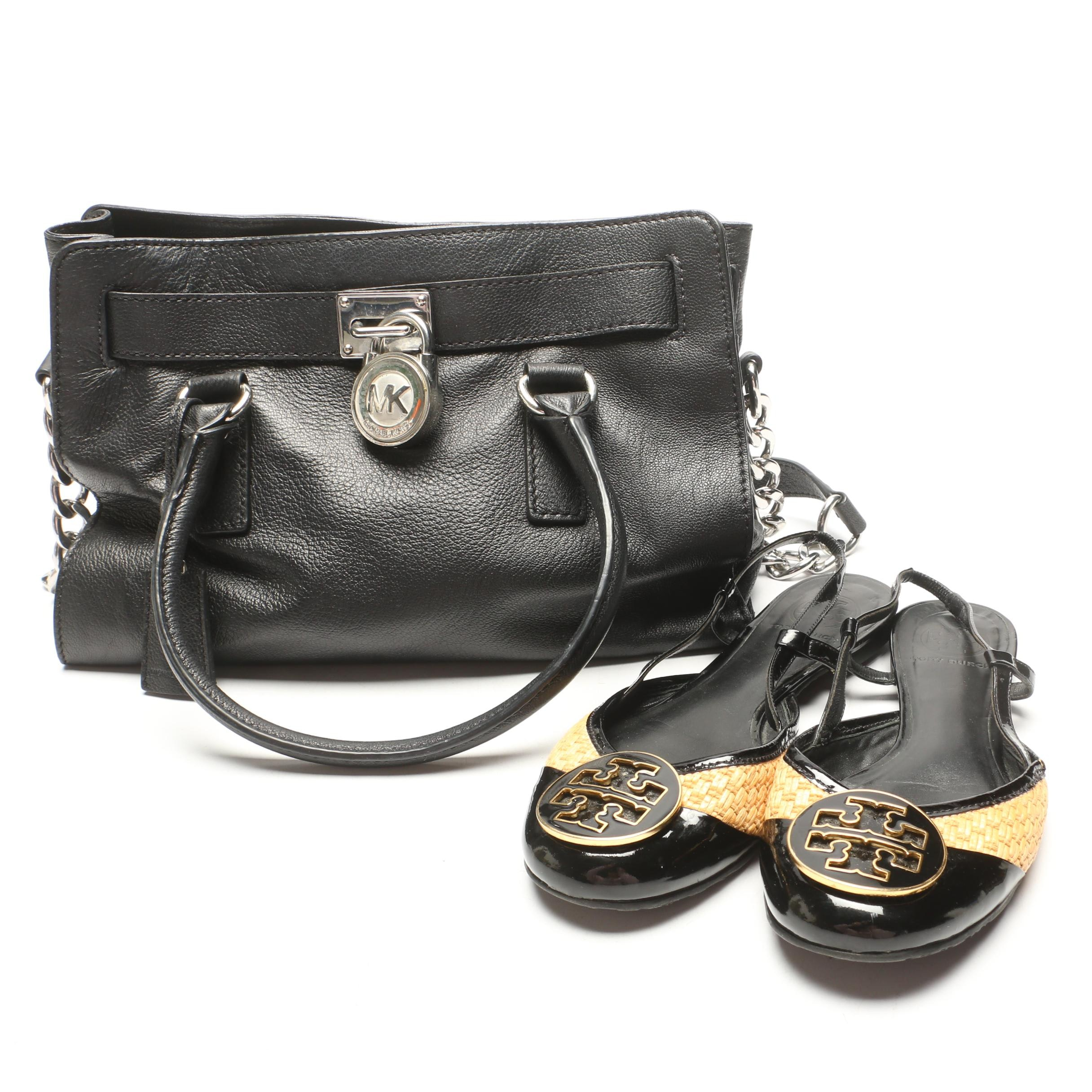 MICHAEL Michael Kors Black Leather Tote and Tory Burch Flats