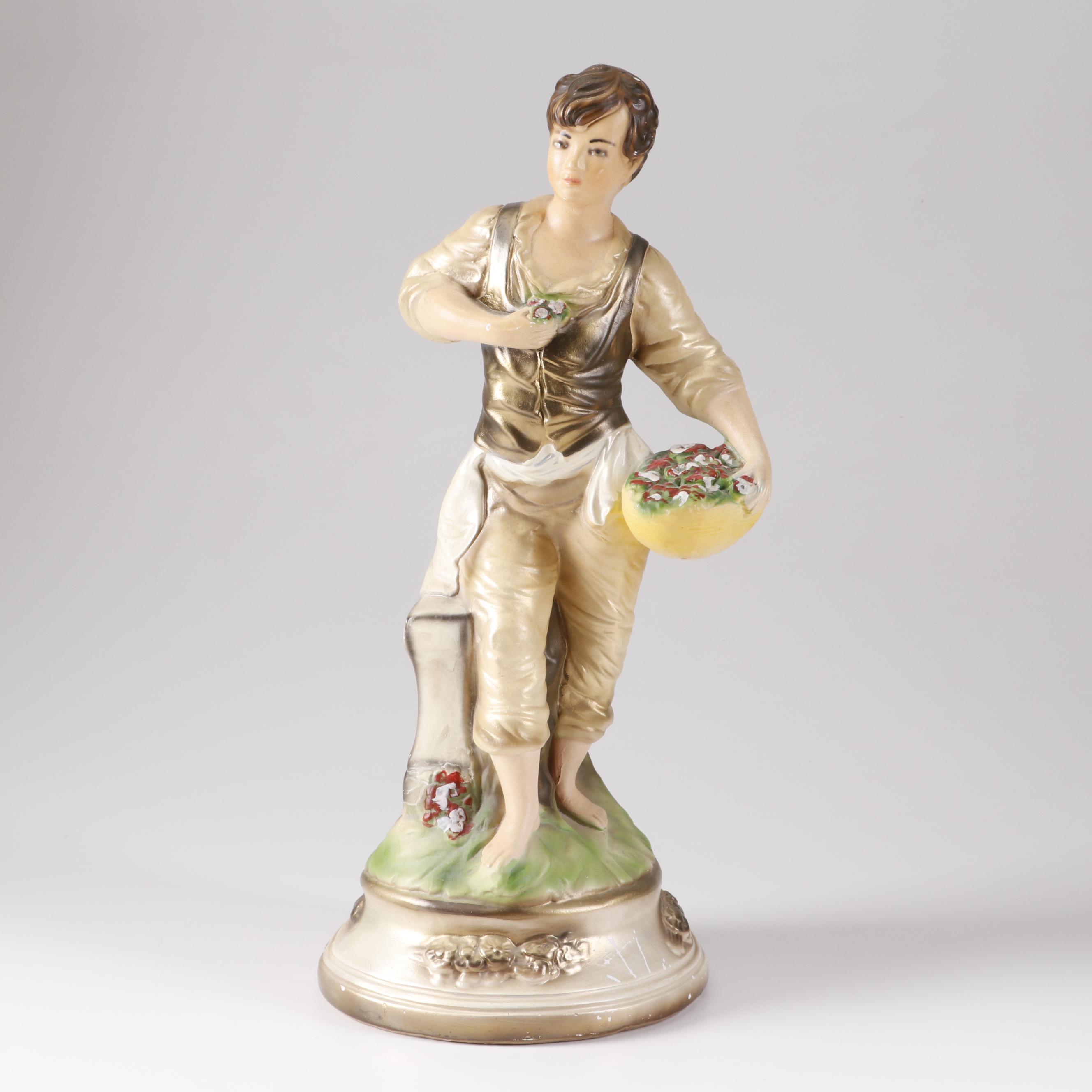 Victorian Boy Chalkware Figurine, Early 20th Century