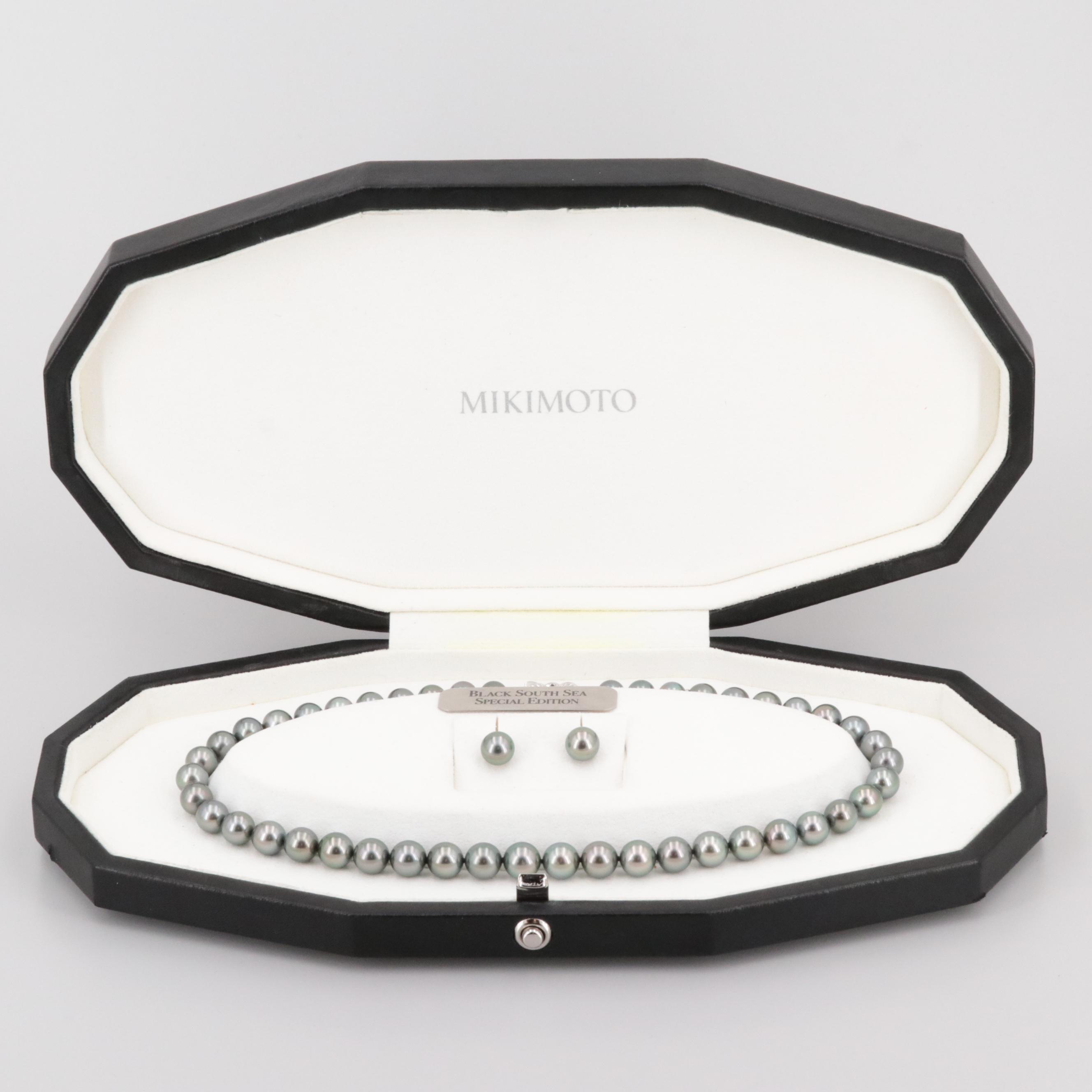 "Mikimoto 18K Cultured Pearl and Diamond Ginza ""Black South Sea Special Edition"""