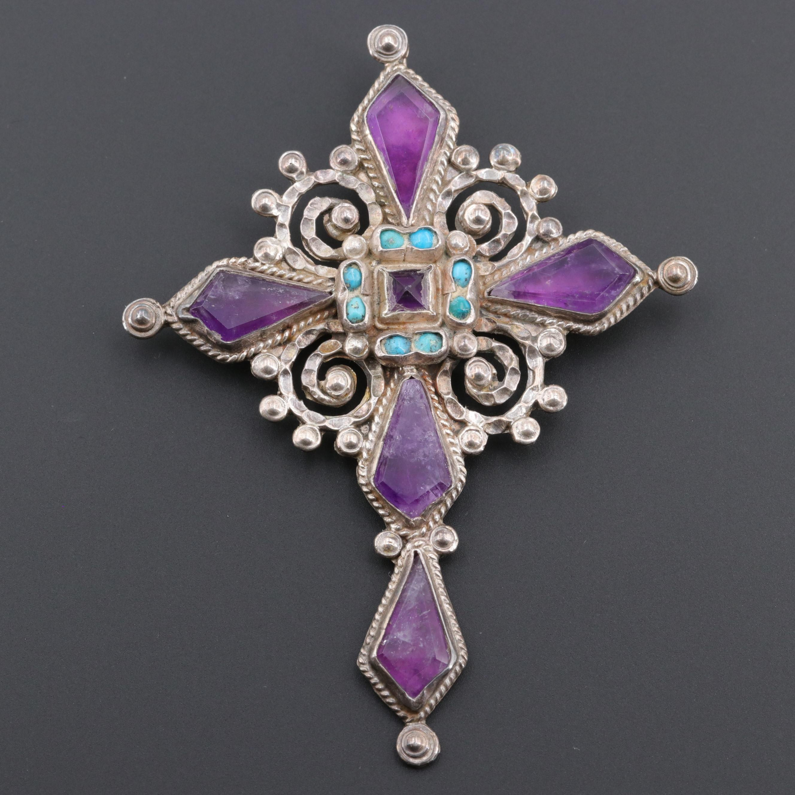 Vintage Ricardo Salas Mexican Sterling Amethyst and Turquoise Cross Brooch
