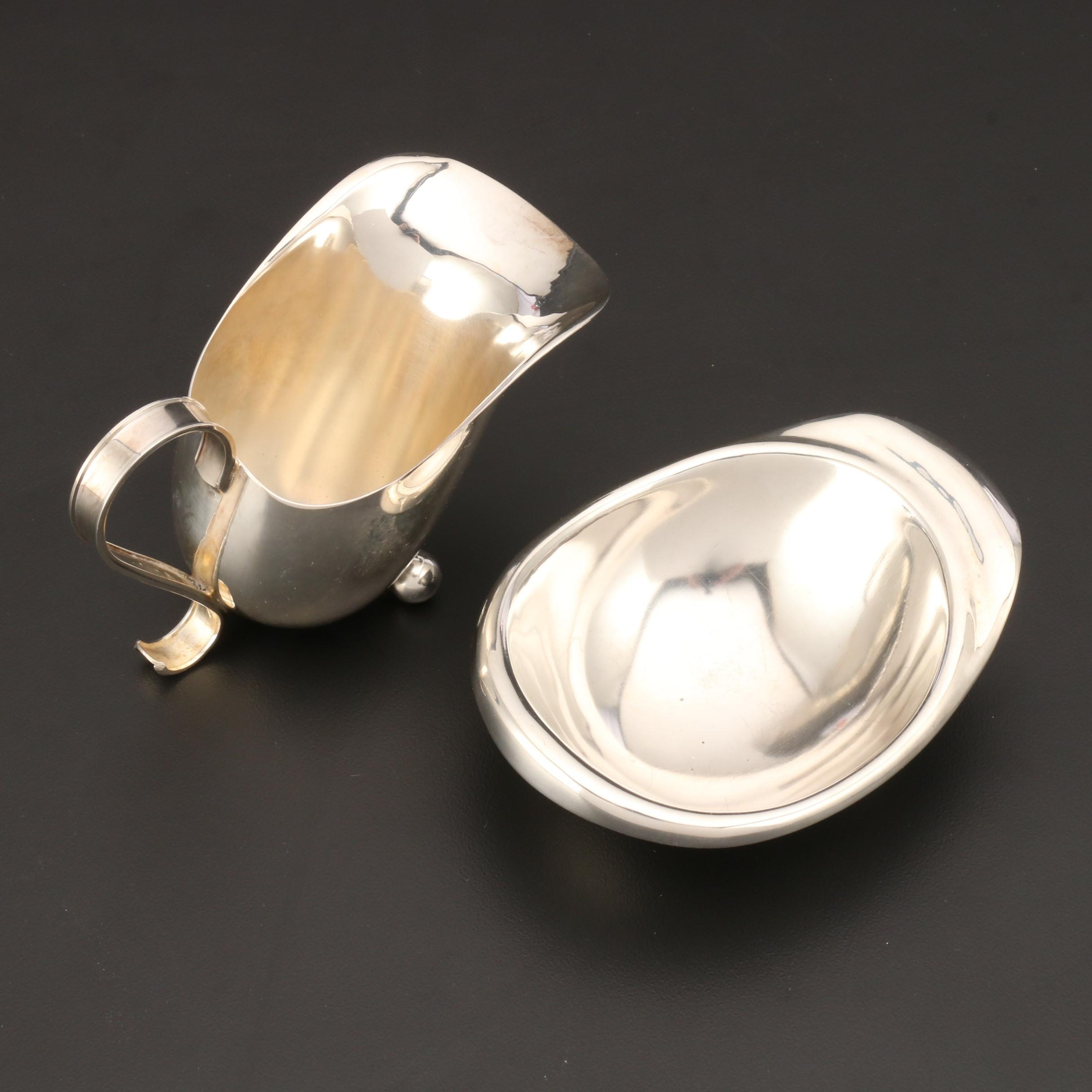 Modernist 835 Silver Cream and Sugar Set