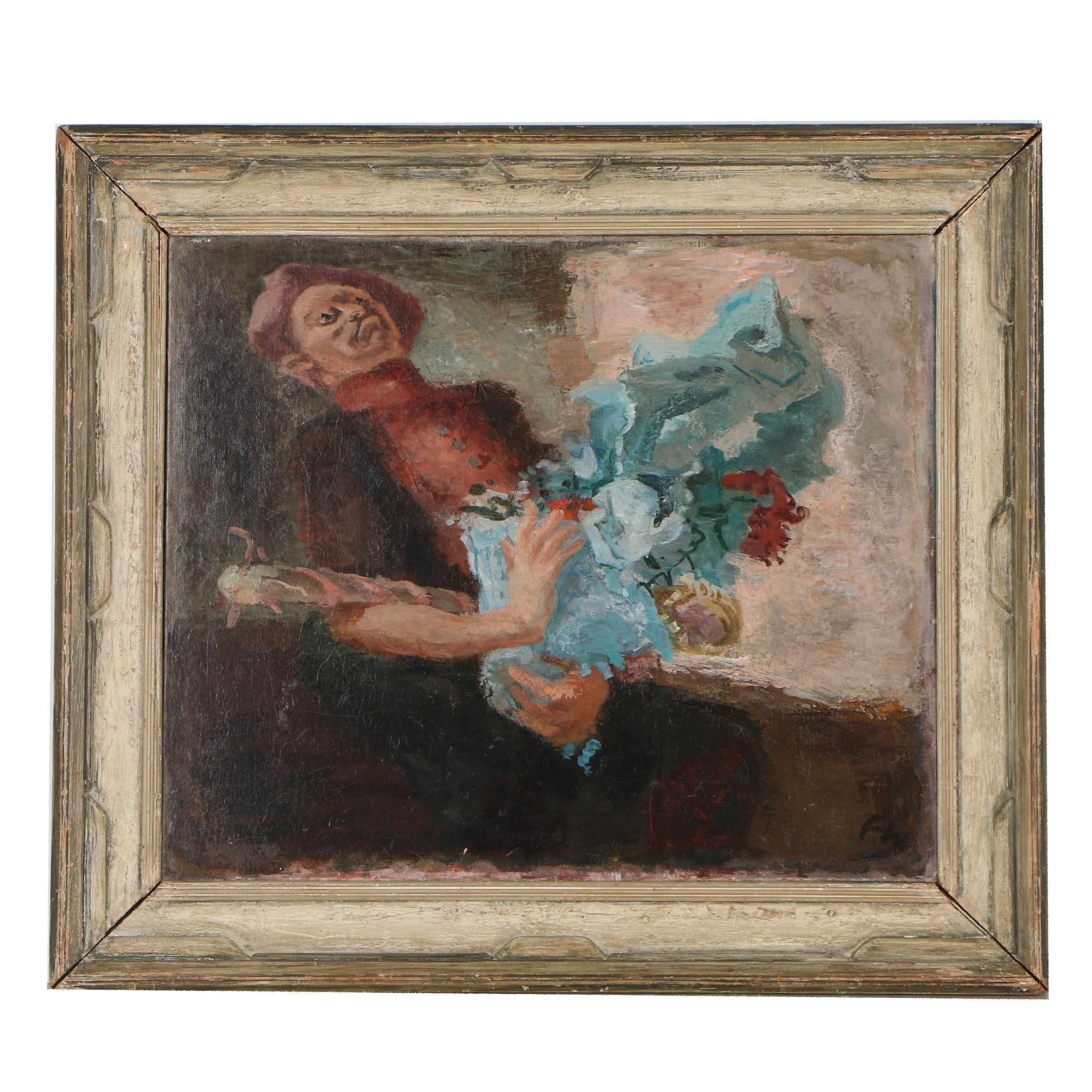 """Franklin Watkins 1931 Oil Painting """"Clown with Bouquet"""""""