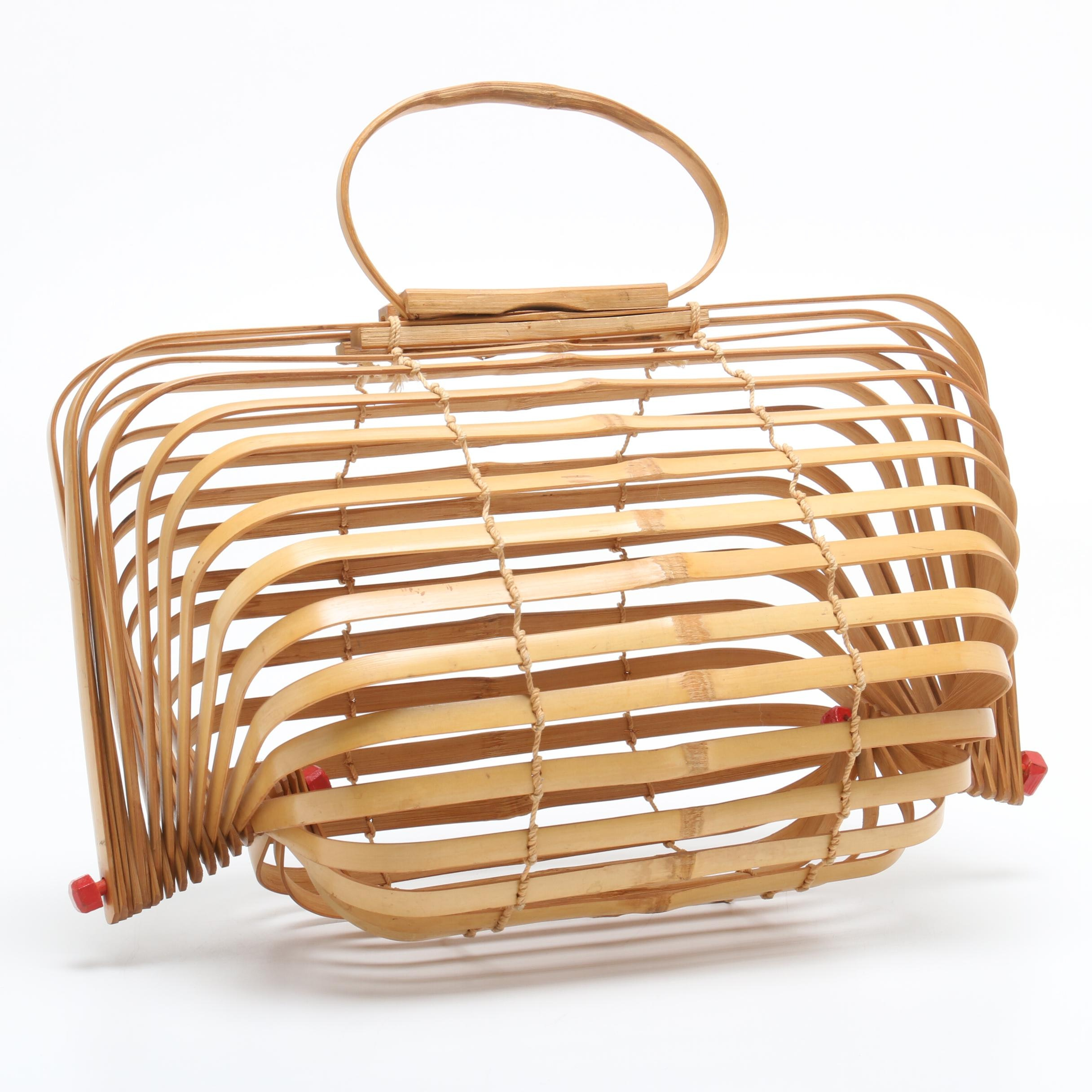 Mid-20th Century Japanese Bamboo Reed Folding Top Handle Bag