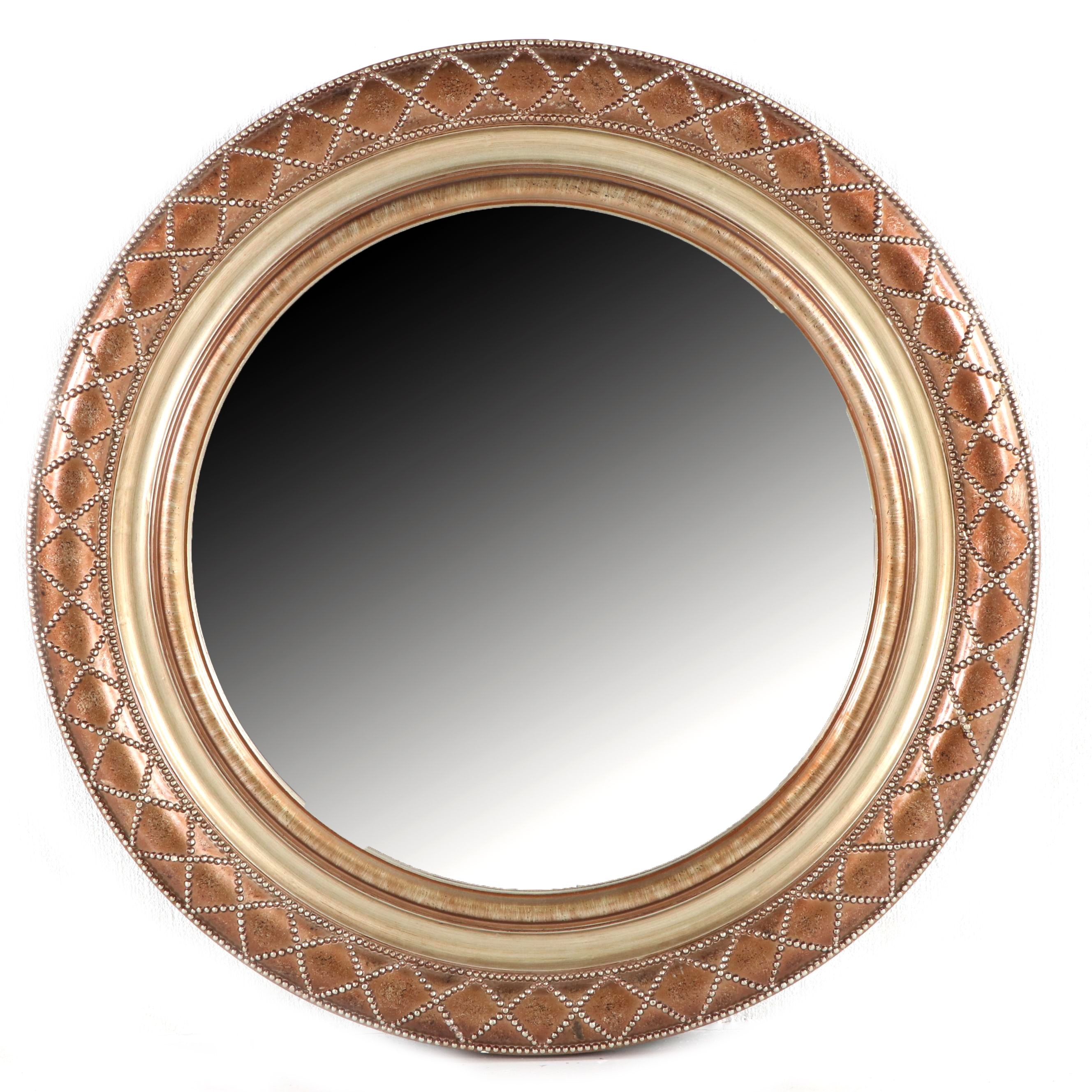 Contemporary Copper Style Beaded Round Mirror