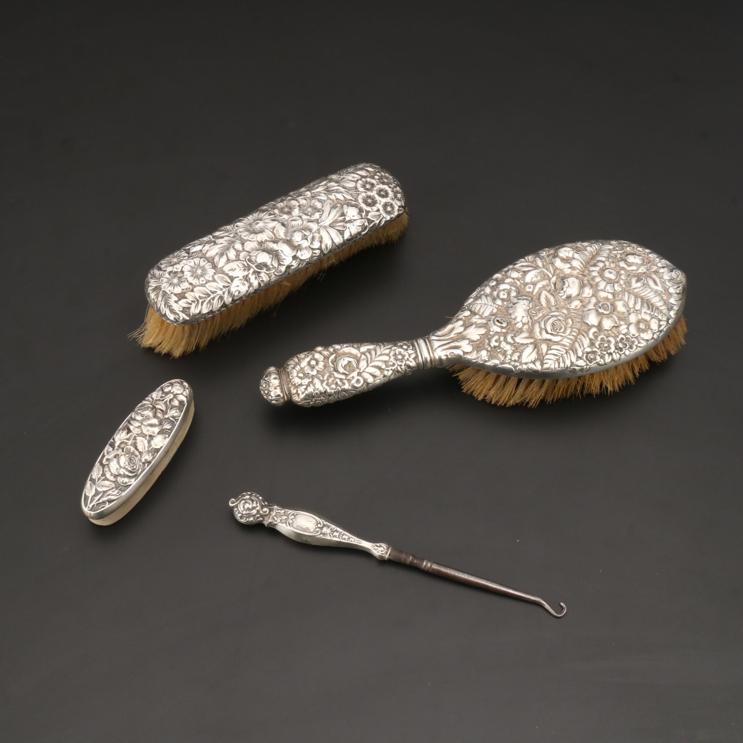 Sterling Silver Repoussé Grooming Items Including Tiffany