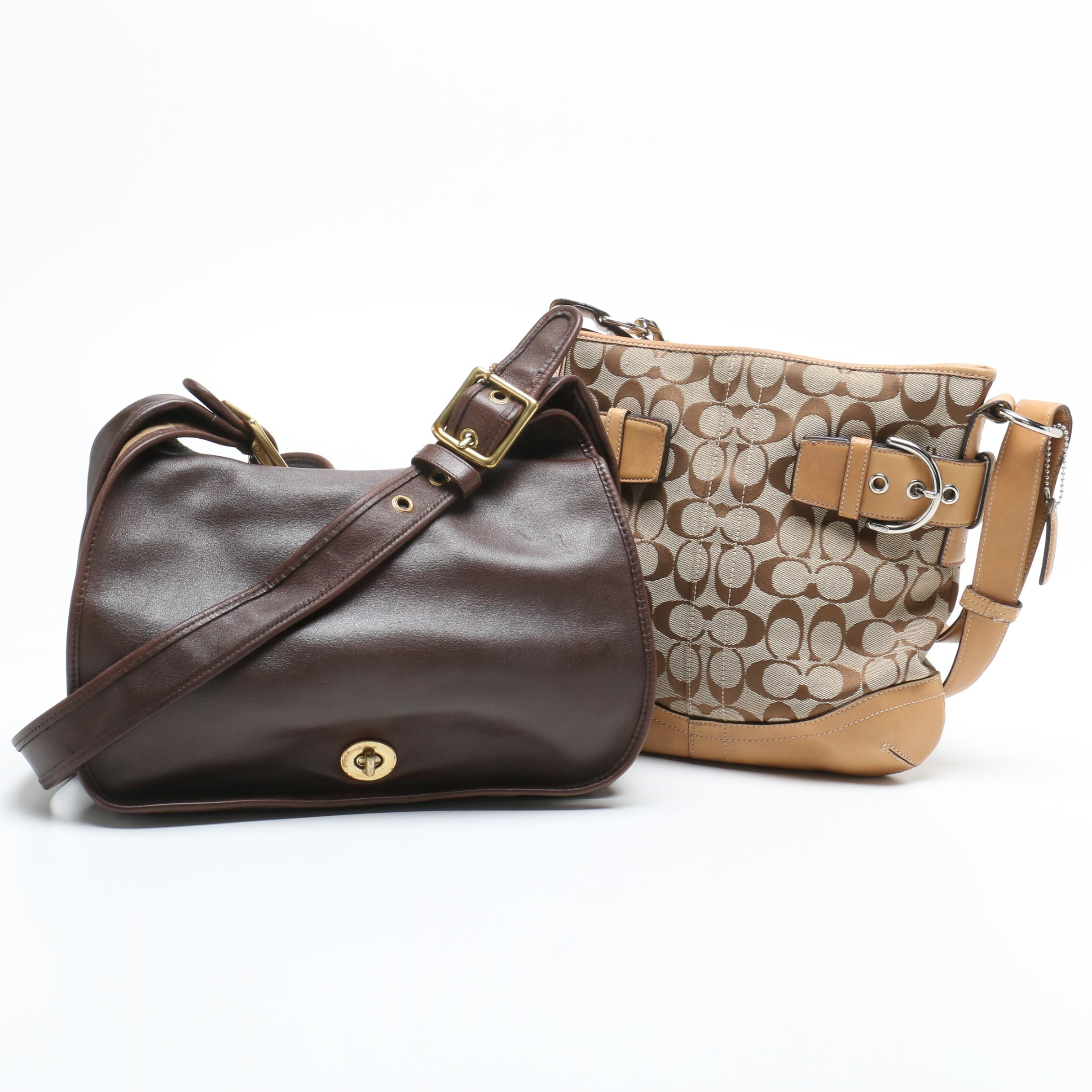 Coach Brown Leather Legacy Crescent Bag and Signature Soho Shoulder Bag