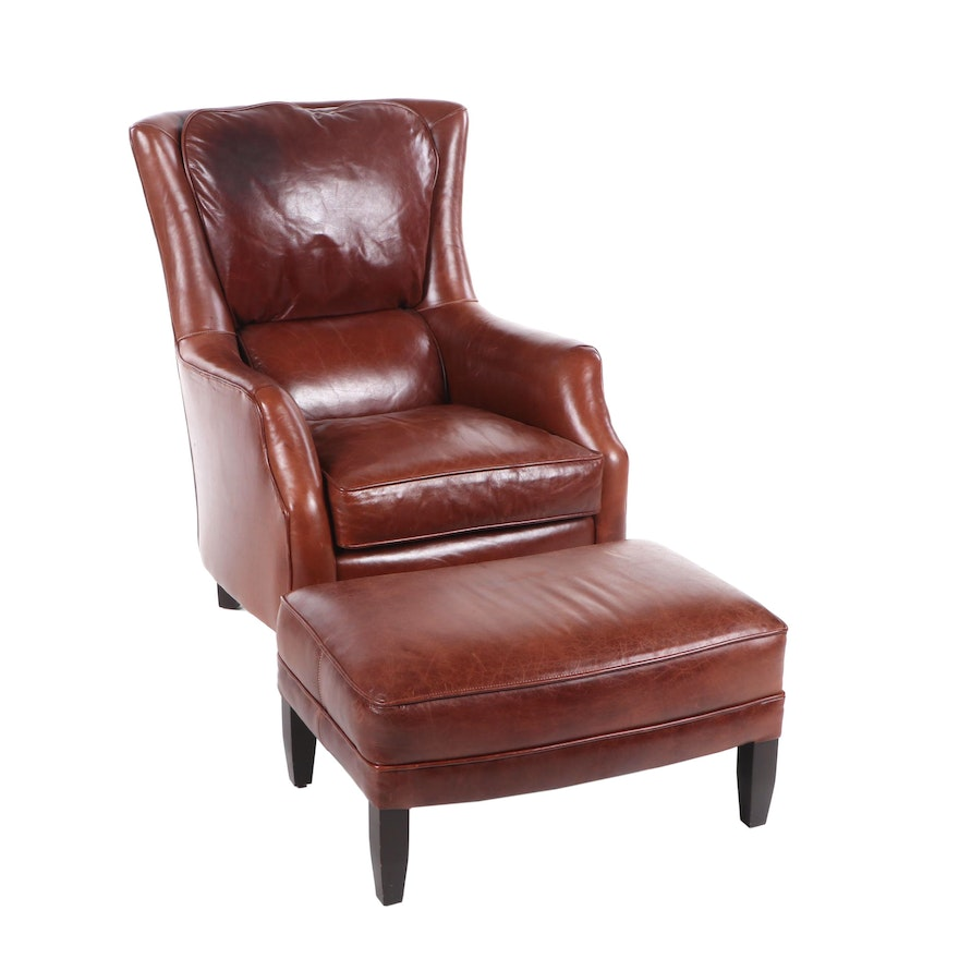 Swell Arhaus Leather Club Chair With Ottoman Contemporary Alphanode Cool Chair Designs And Ideas Alphanodeonline