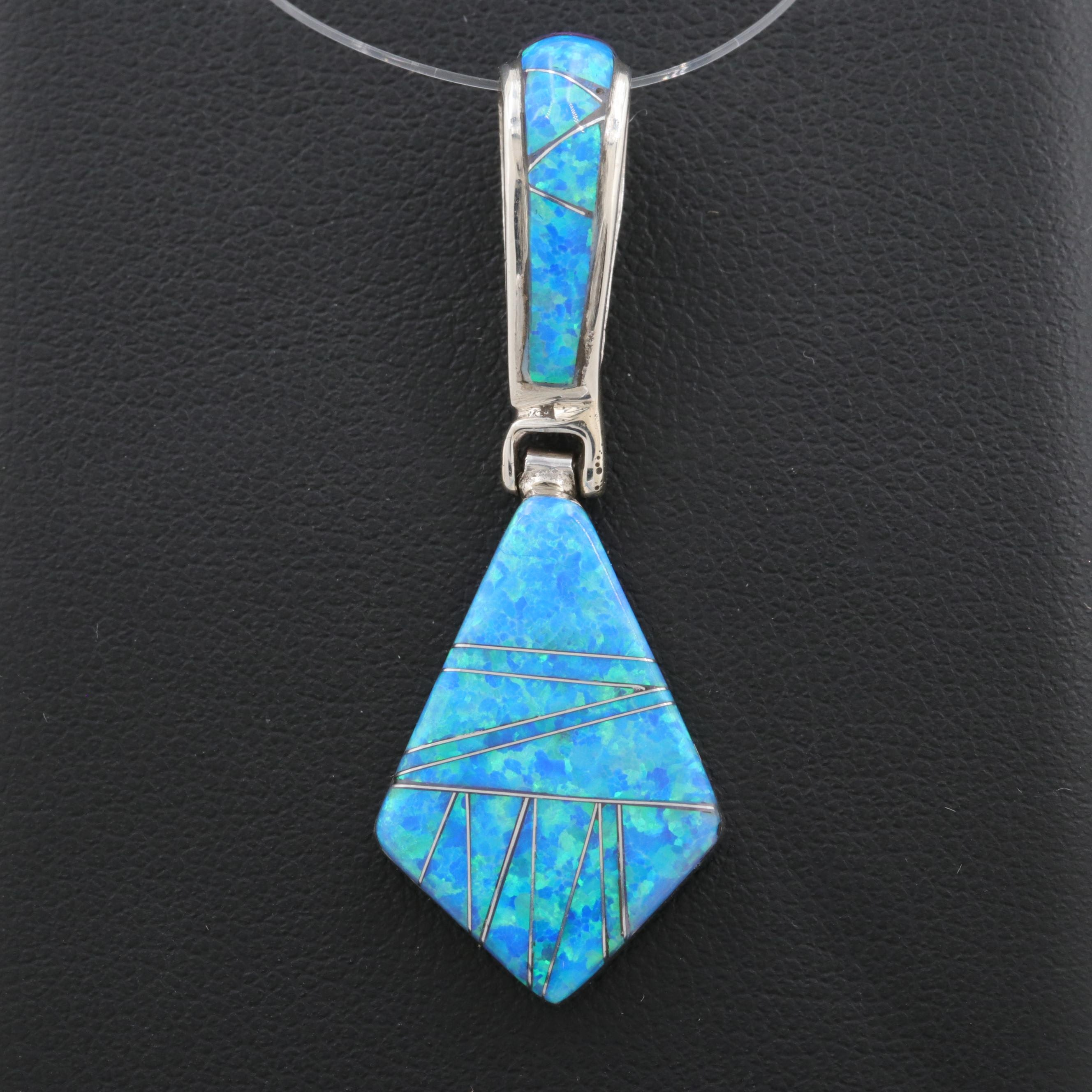 Southwestern Sterling Synthetic Reversible Pendant Including Synthetic Opal