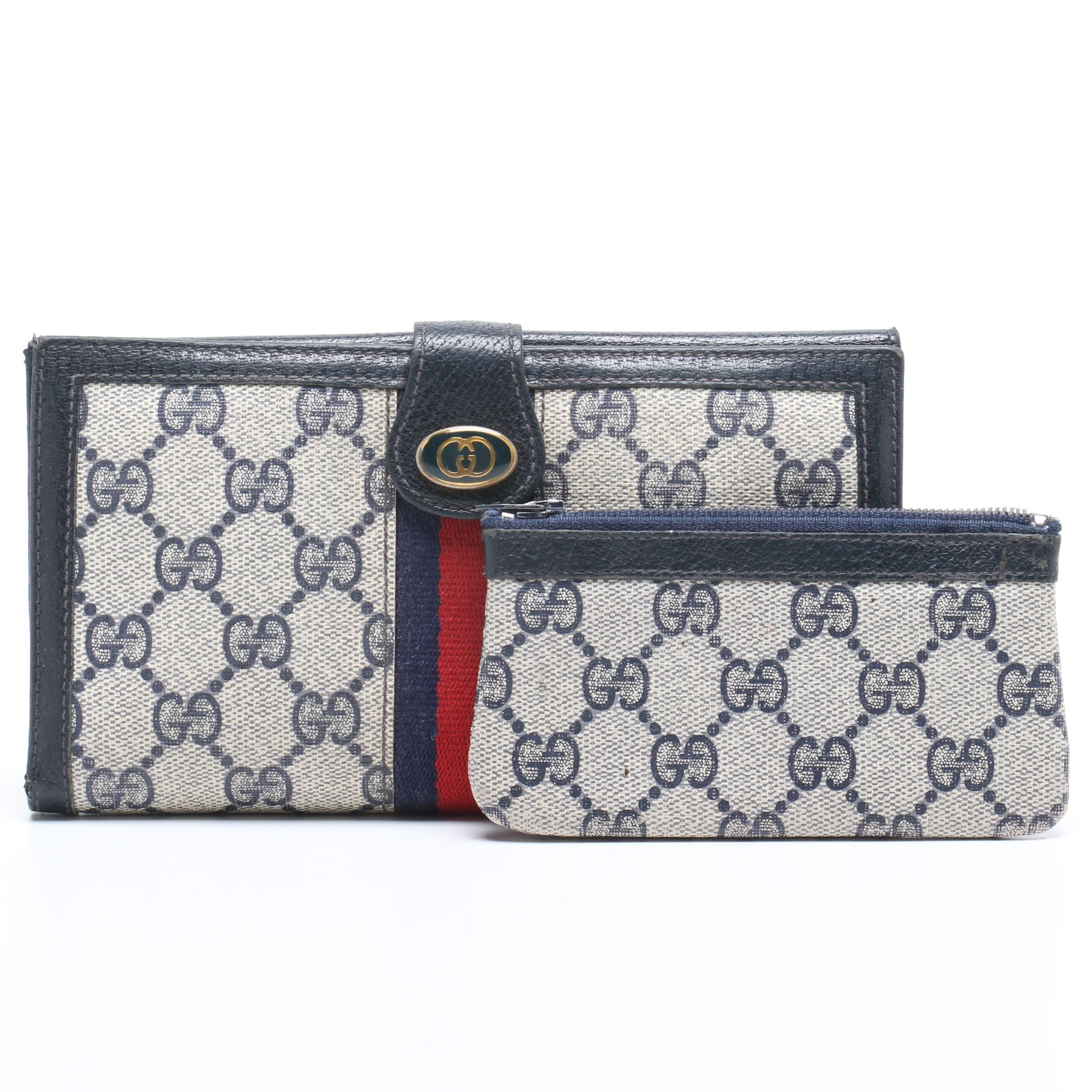 Gucci Accessory Collection GG Supreme Canvas Web Stripe Wallet and Zipper Pouch