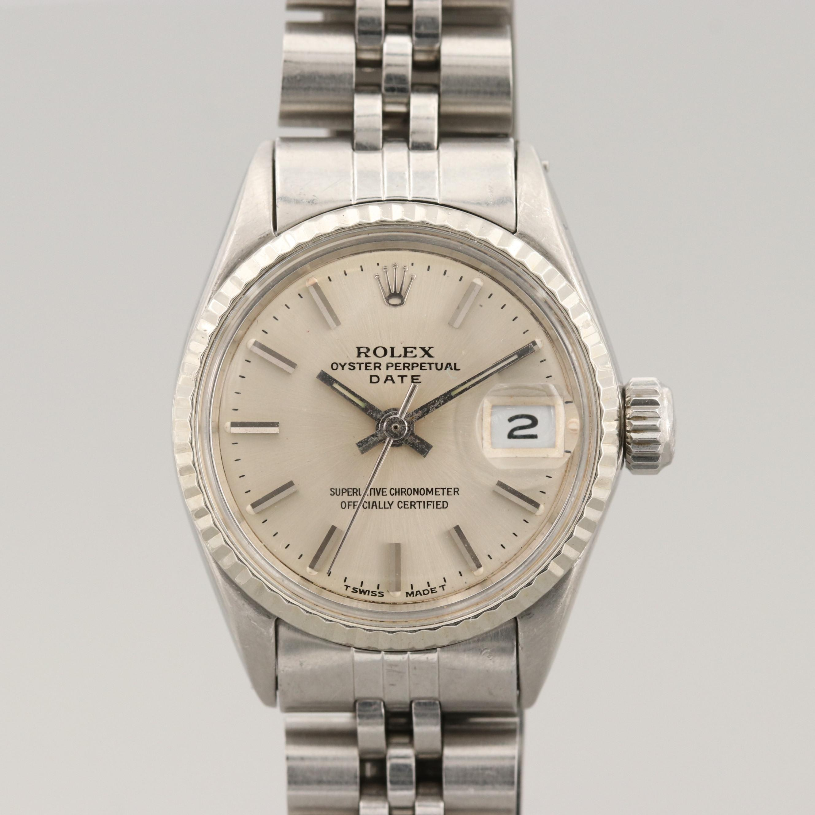 Rolex Oyster Perpetual Date Stainless Steel and 18K White Gold Wristwatch, 1967