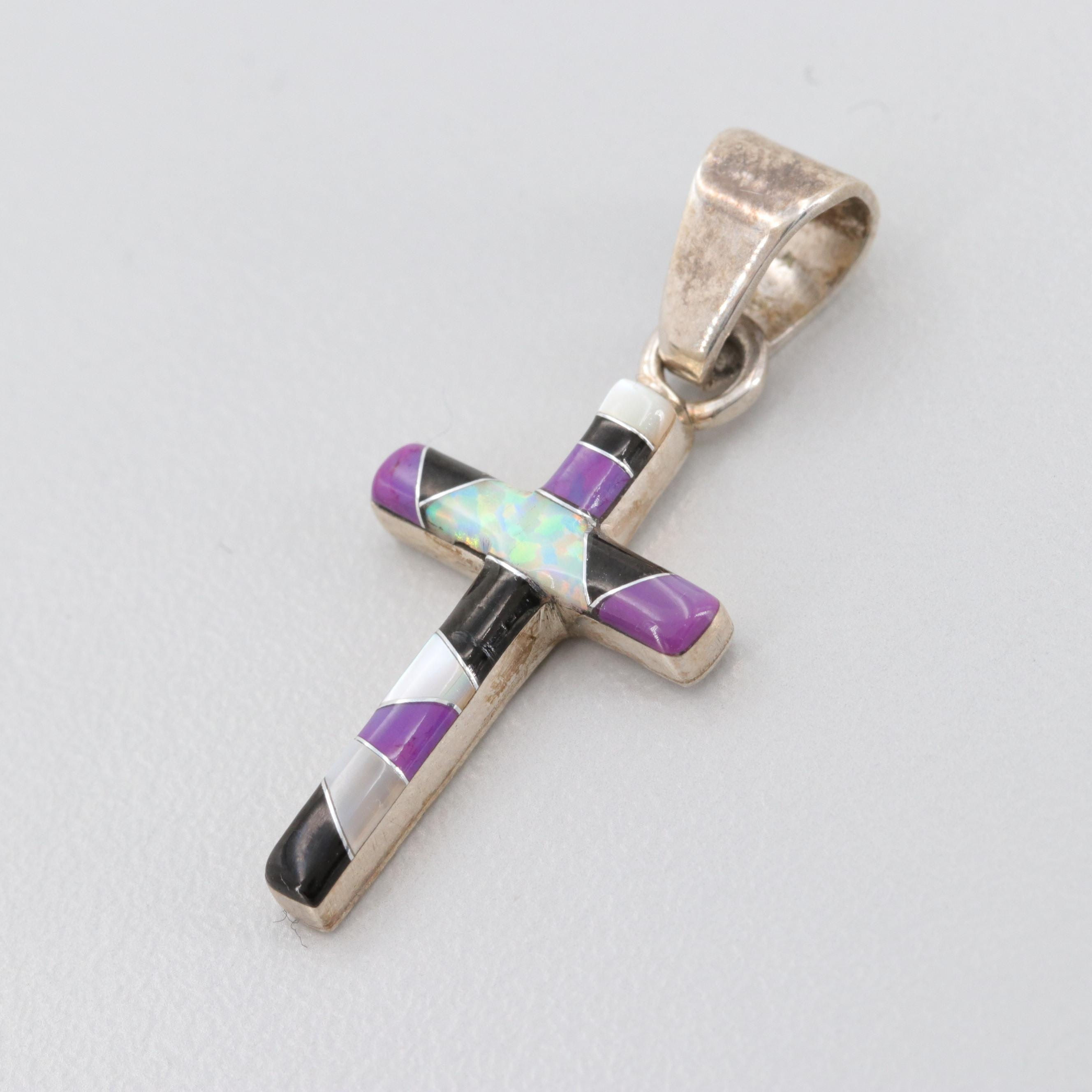 Southwestern Sterling Cross Pendant with Mother Of Pearl and Synthetic Opal