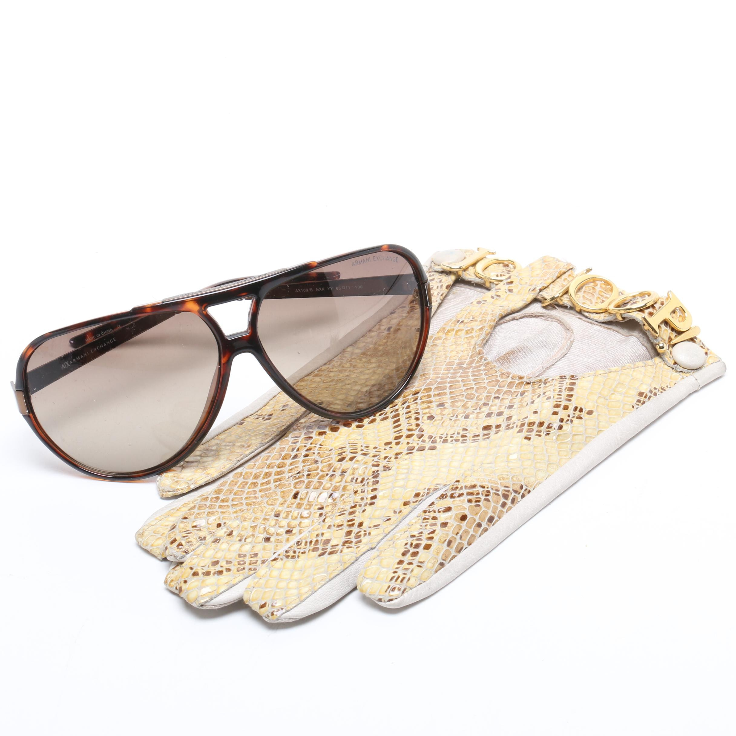 Joop Python Snakeskin and Leather Gloves and Armani Exchange Sunglasses