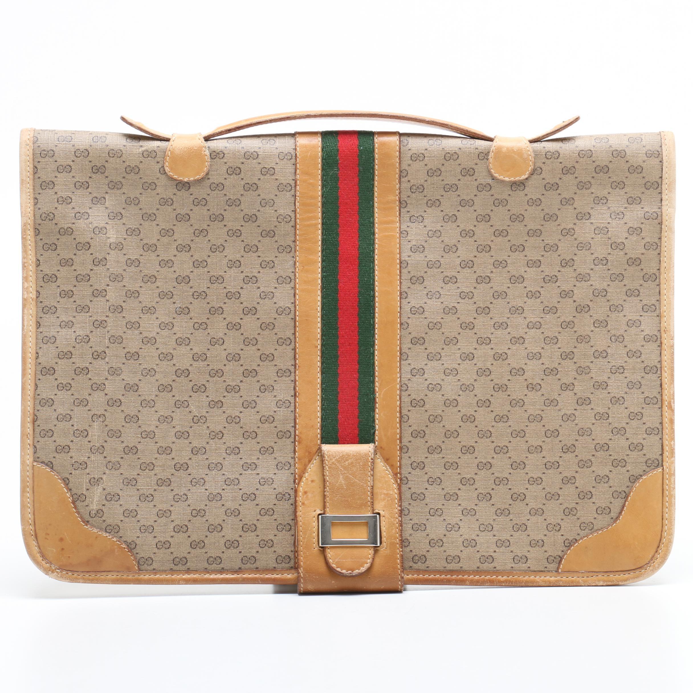Gucci GG Supreme Canvas Web Stripe Briefcase, 1980s Vintage