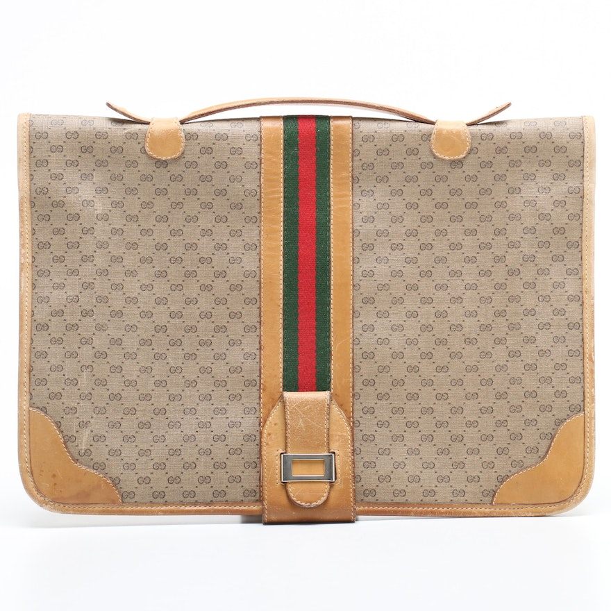 c34894ce651d Gucci GG Supreme Canvas Web Stripe Briefcase, 1980s Vintage : EBTH