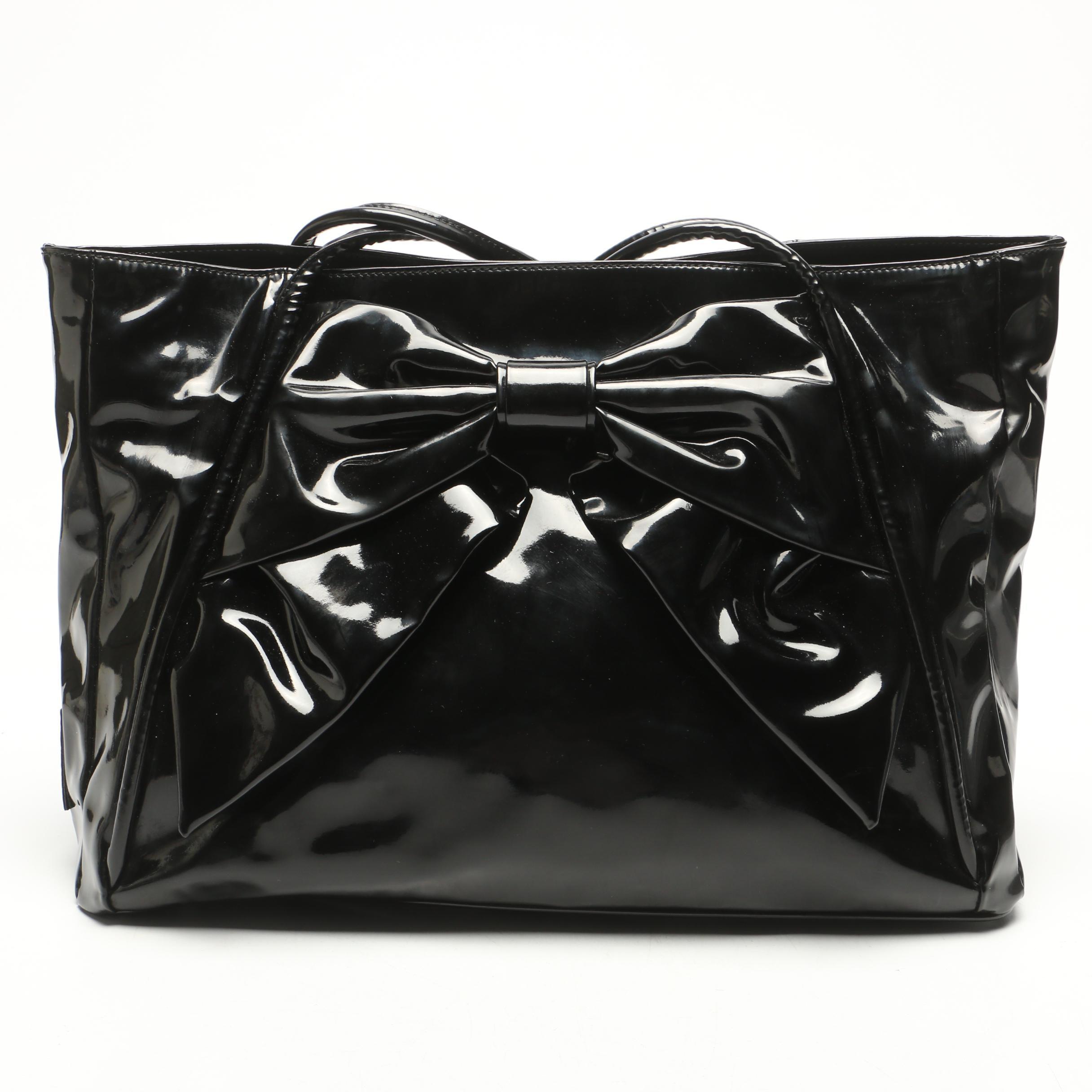 Valentino Black Patent Leather Bow Tote