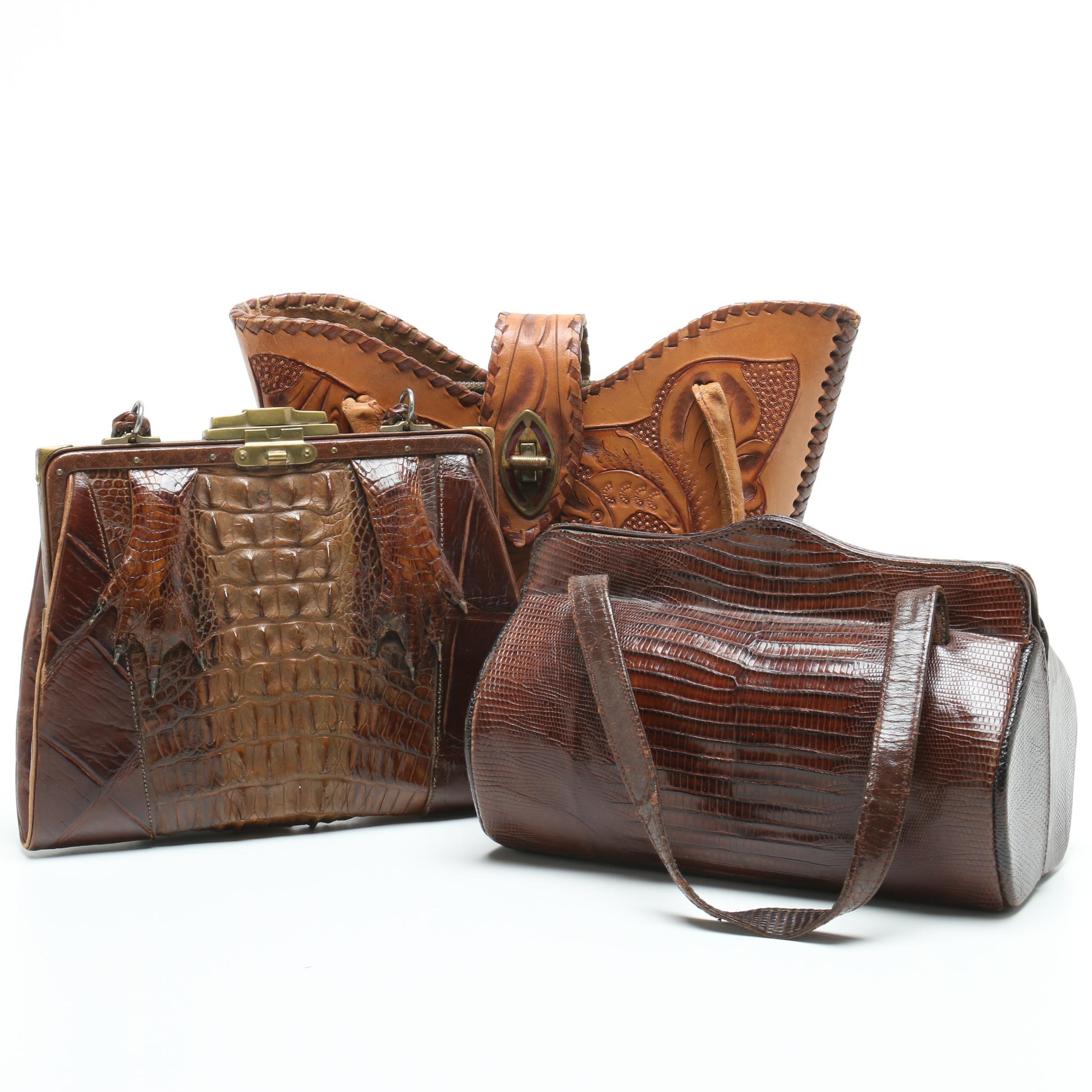 Alligator Frame Bag, Palizzio Lizard Barrel Bag and Tooled Leather Bag, Vintage