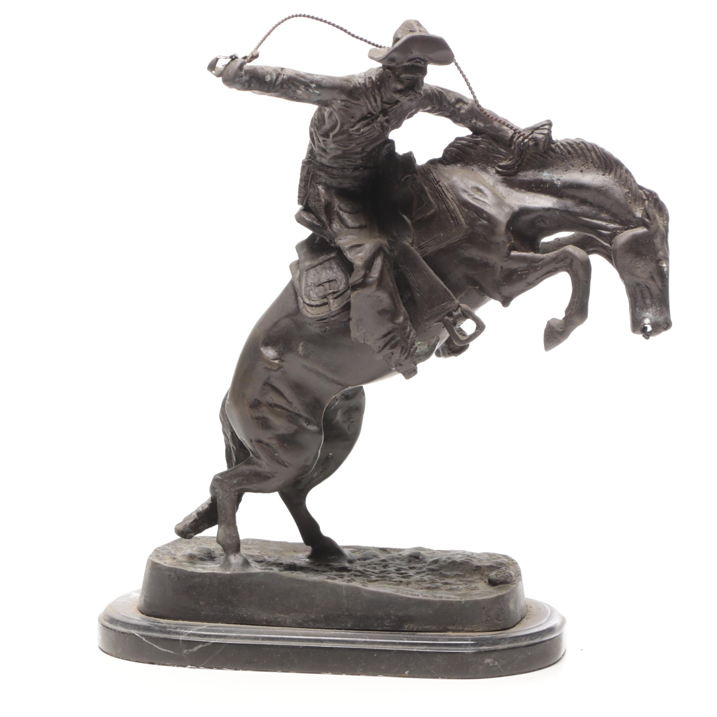 """Bronze Sculpture after Frederic Remington """"The Bronco Buster"""""""