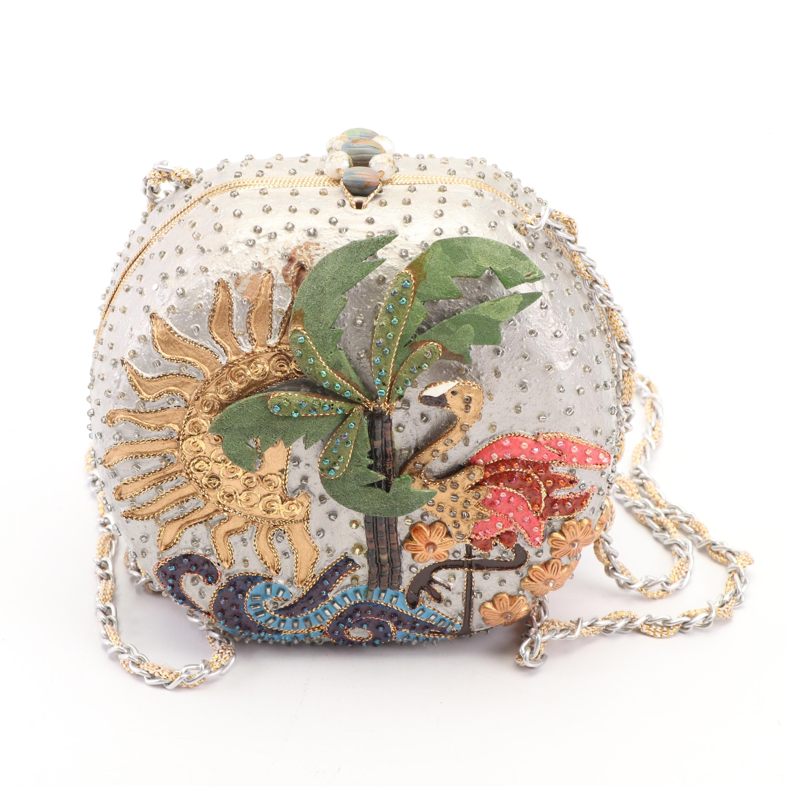 Mary Frances of San Francisco Embellished Palm Tree and Flamingo Clamshell Purse